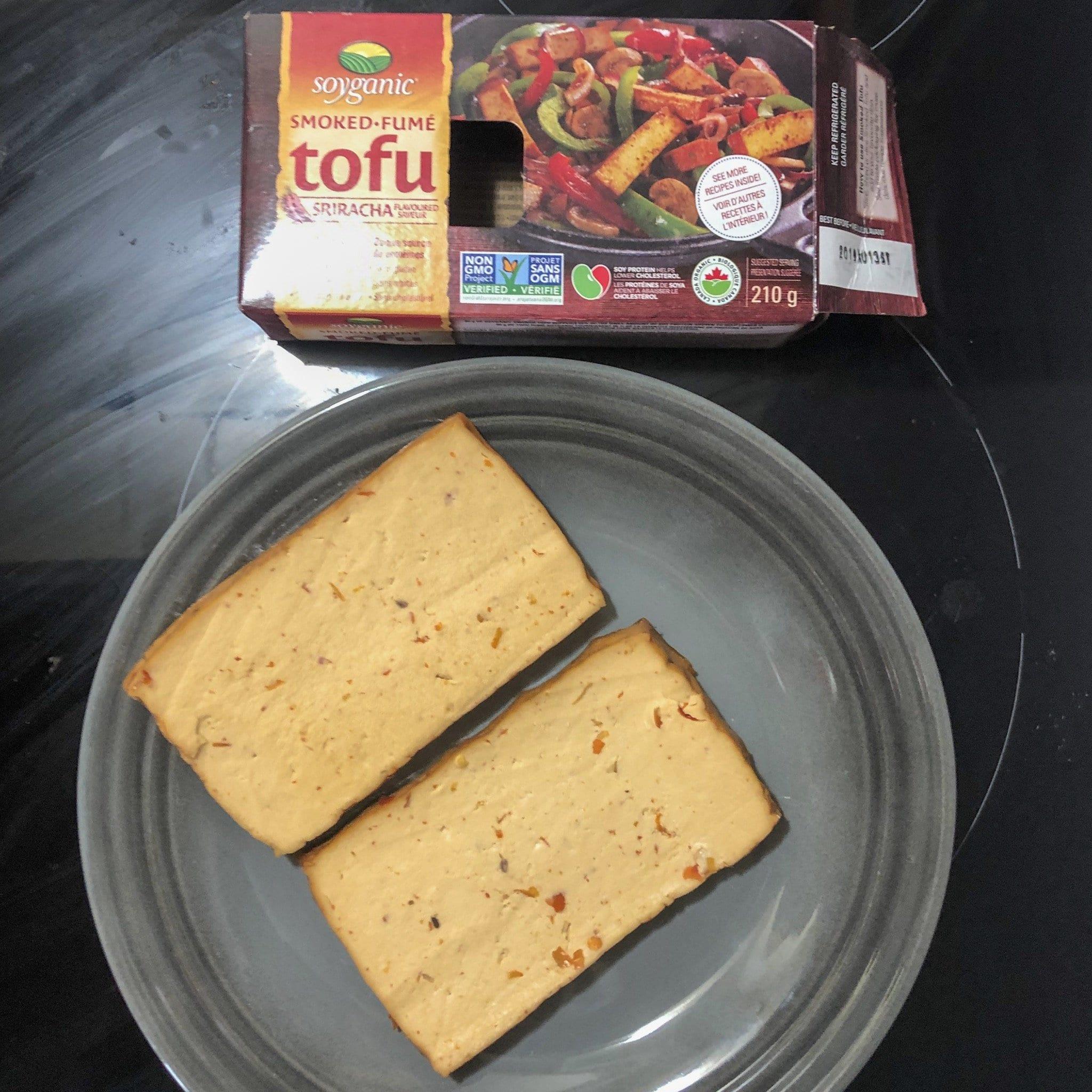 Soyganic sriracha tofu unboxed cut