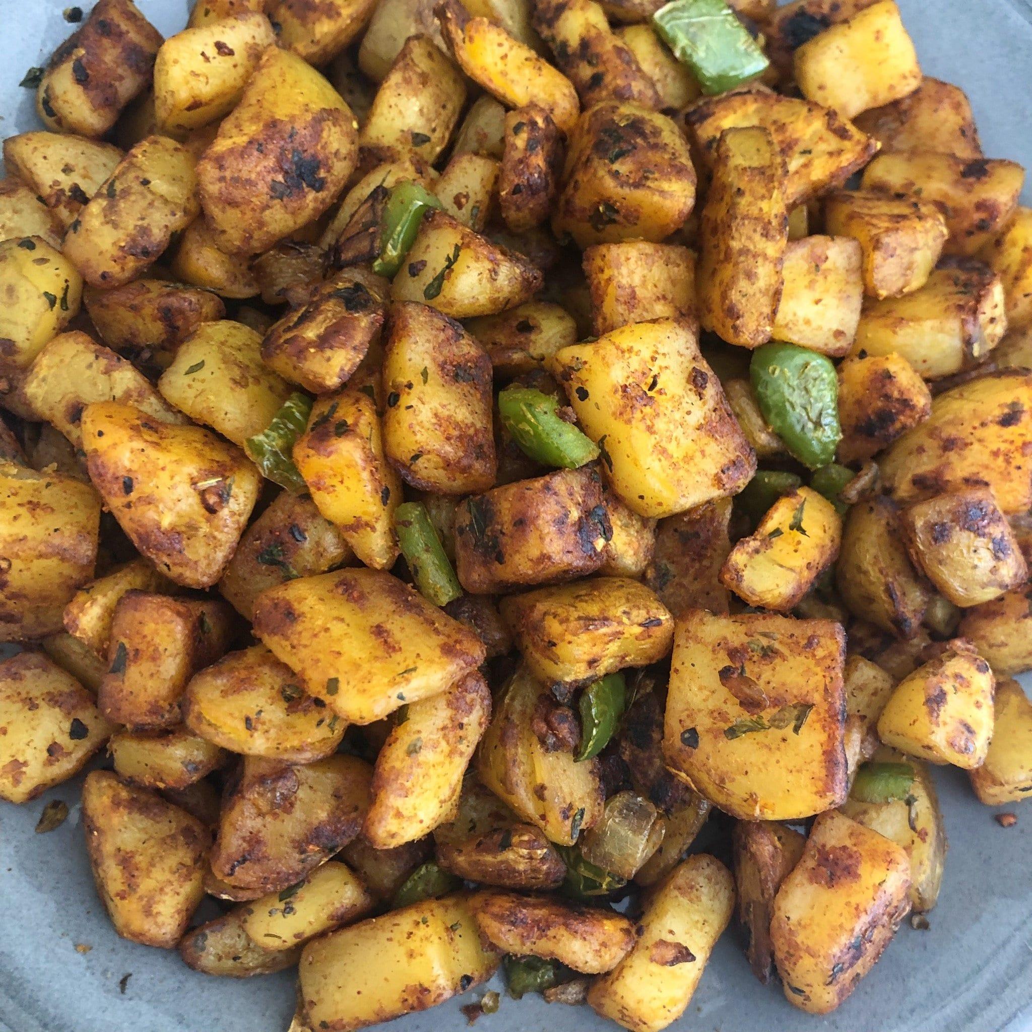 close up of breakfast potatoes