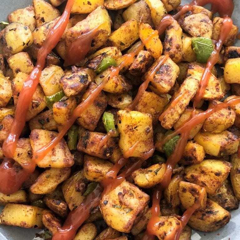 breakfast potatoes with ketchup