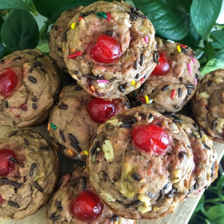 feature image banana split muffins