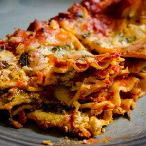 vegan lasagna from camera with tofu ricotta
