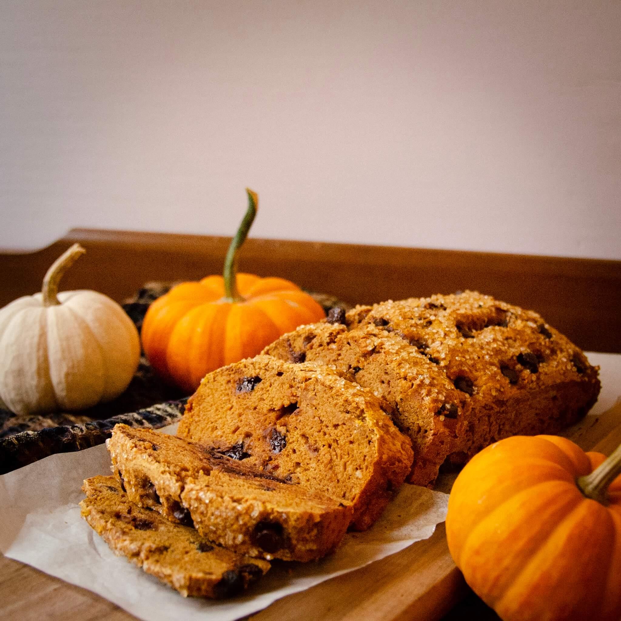 pumpkin bread sliced side shot