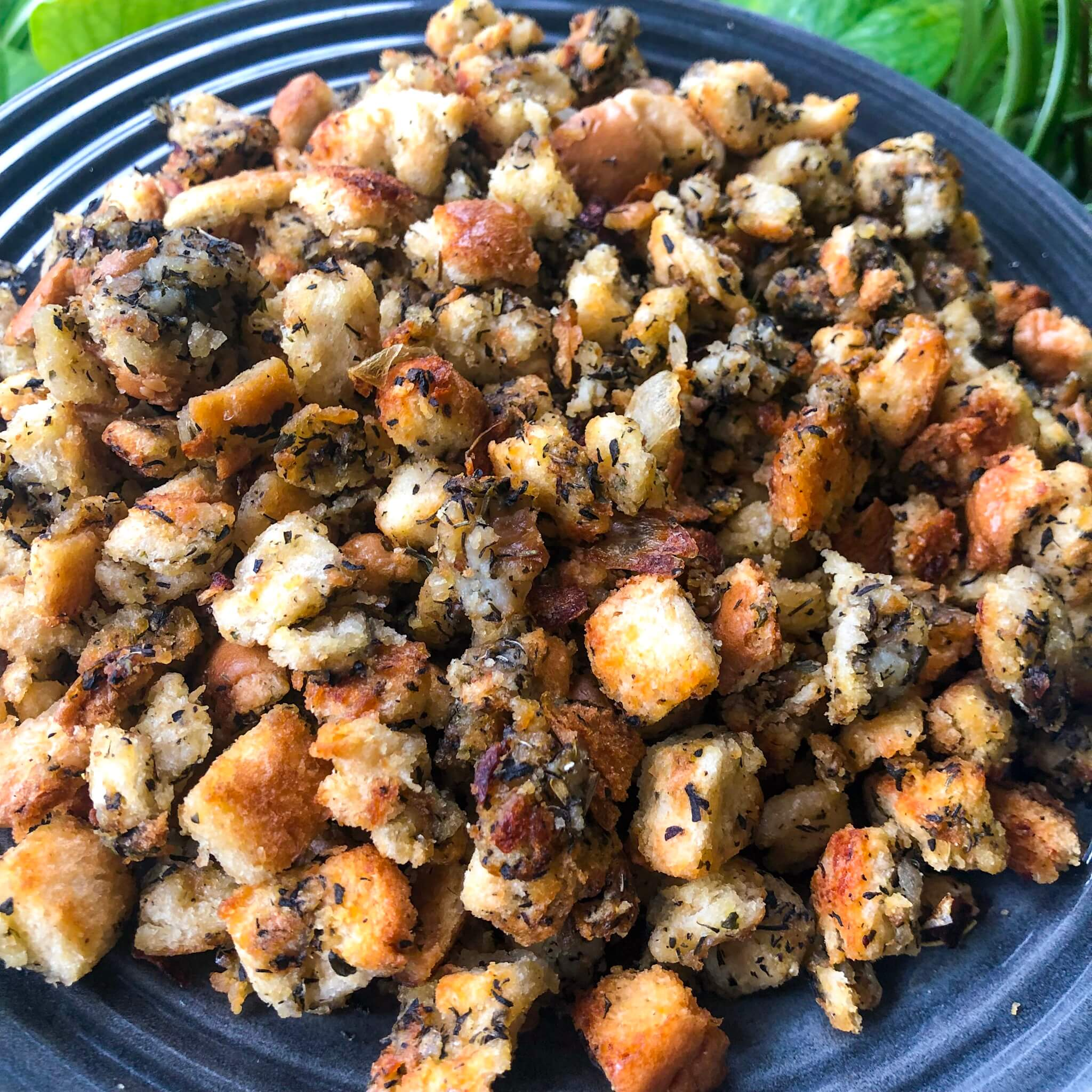 vegan thanksgiving stuffing plated far away