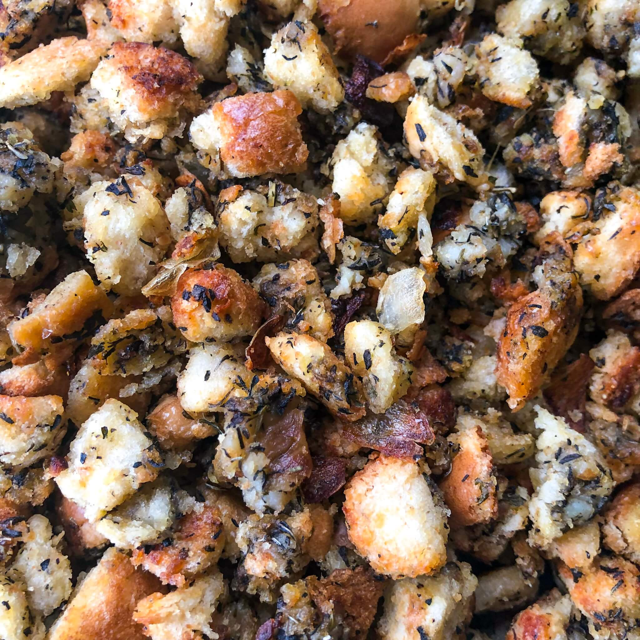 close up of vegan thanksgiving stuffing recipe