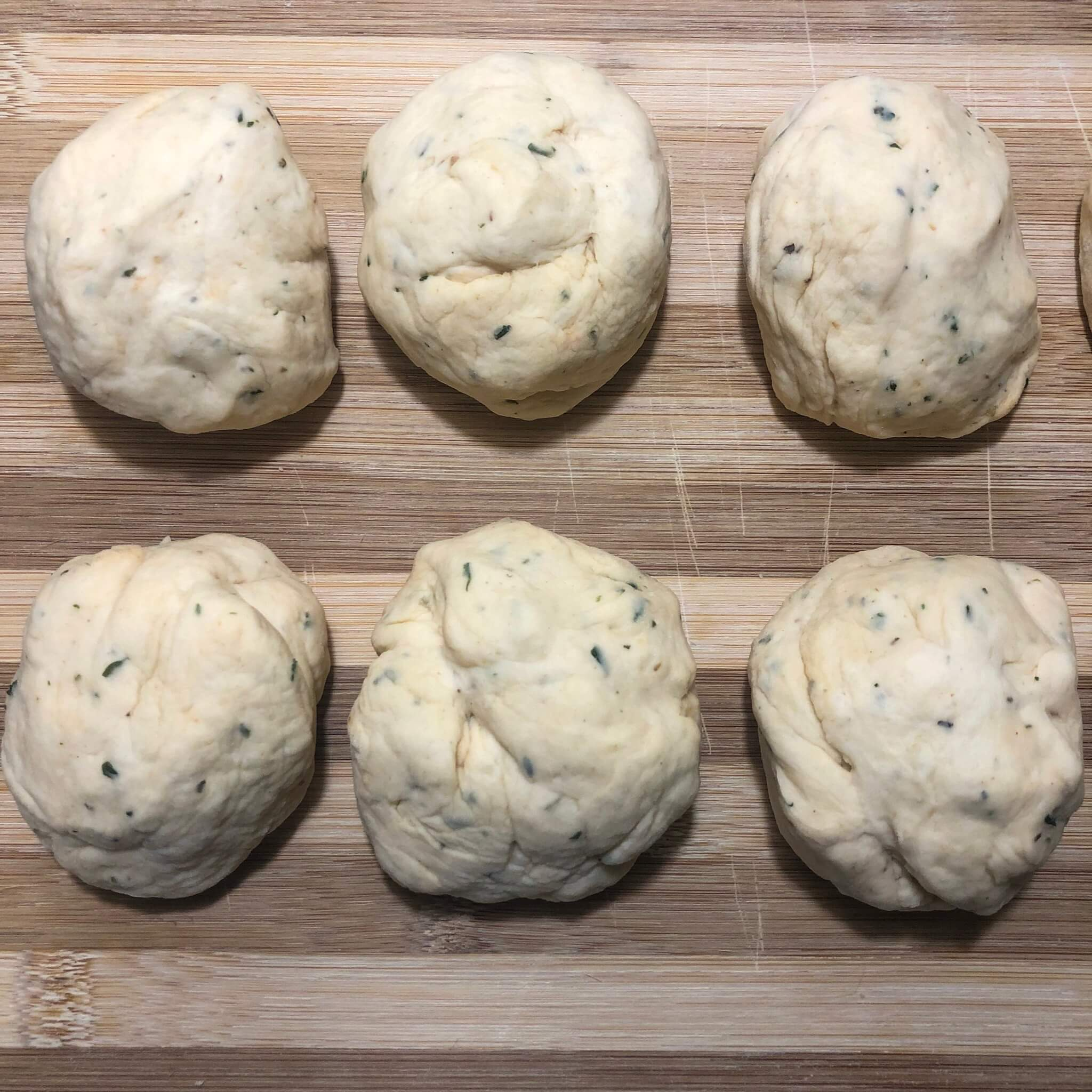 pizza dough in small balls for pizza bun recipe
