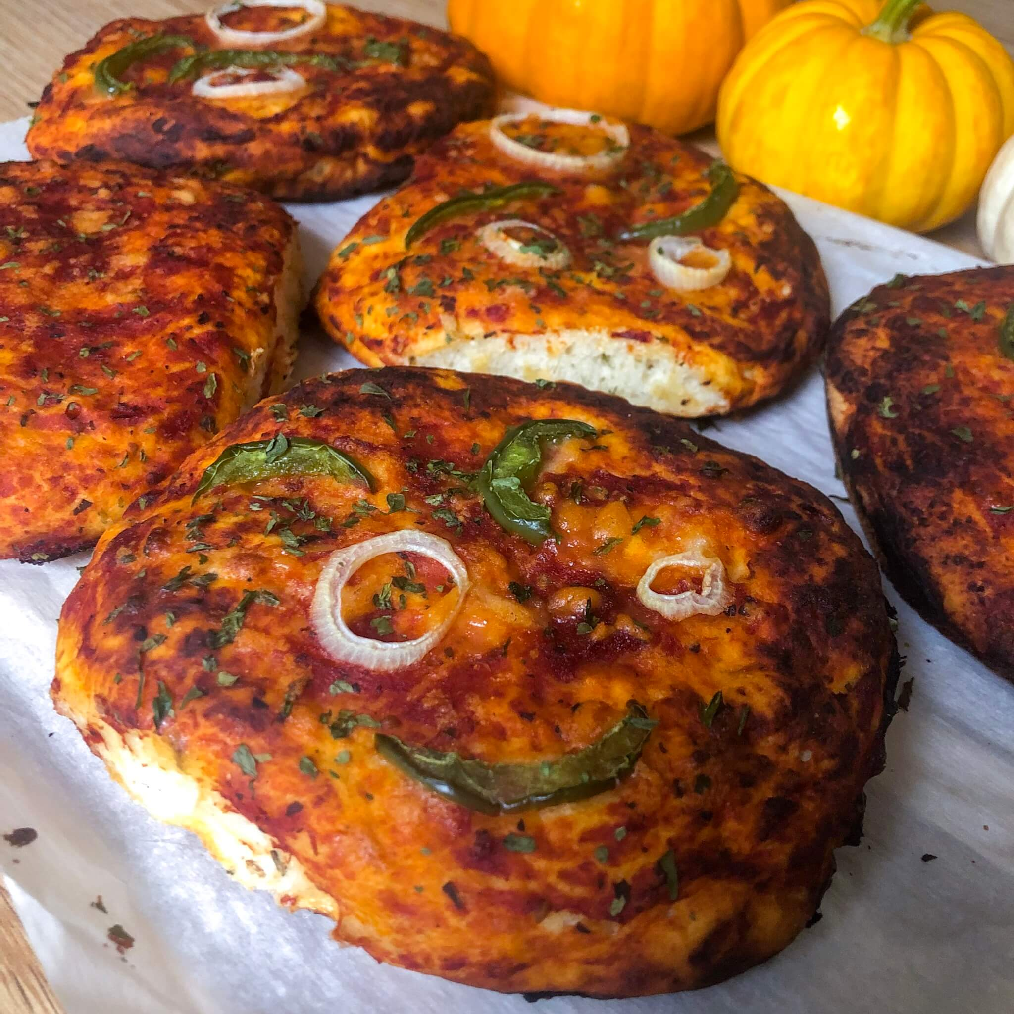 vegan pizza bun recipe close up with pumpkins