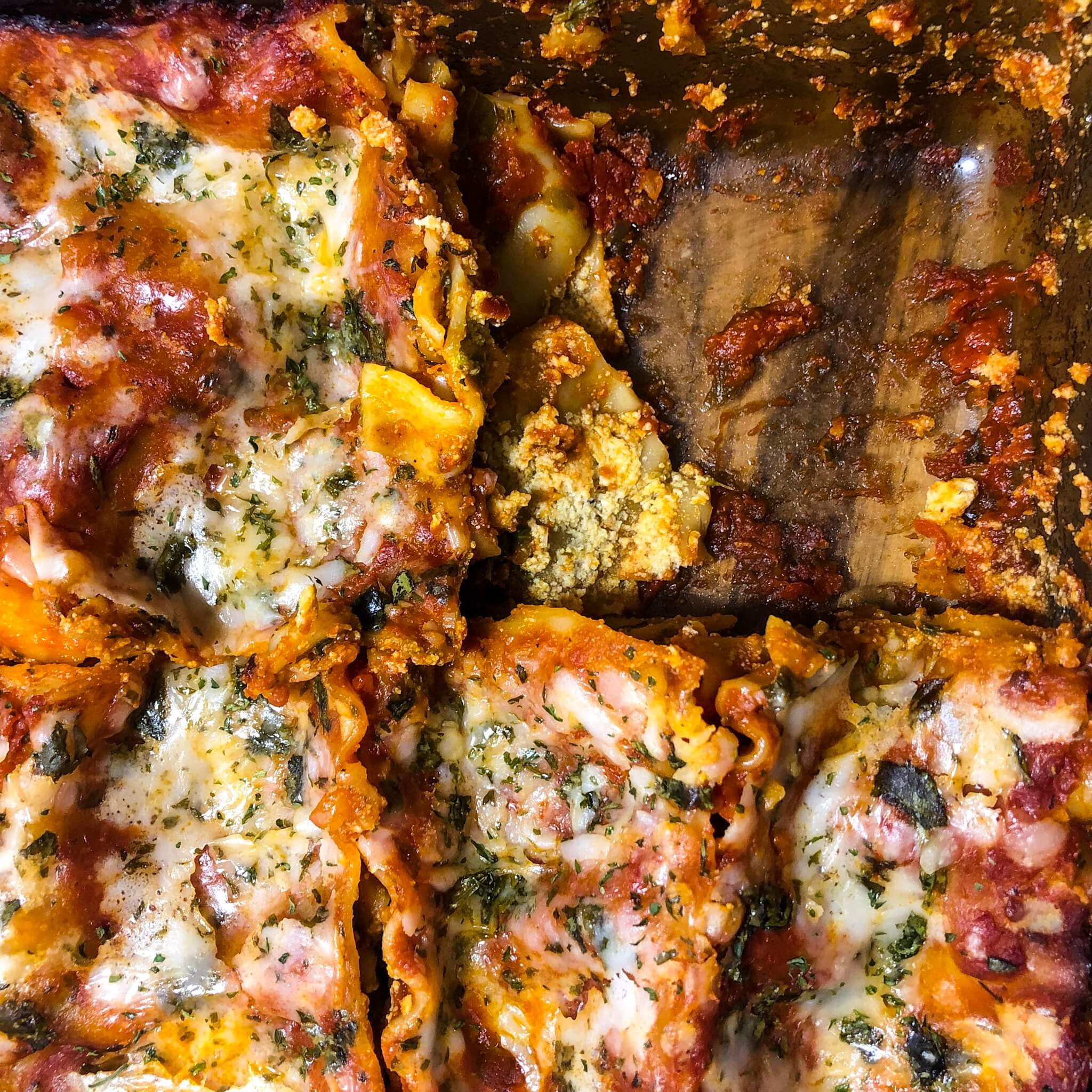 spinach and tofu ricotta lasagna vegan one slice gone