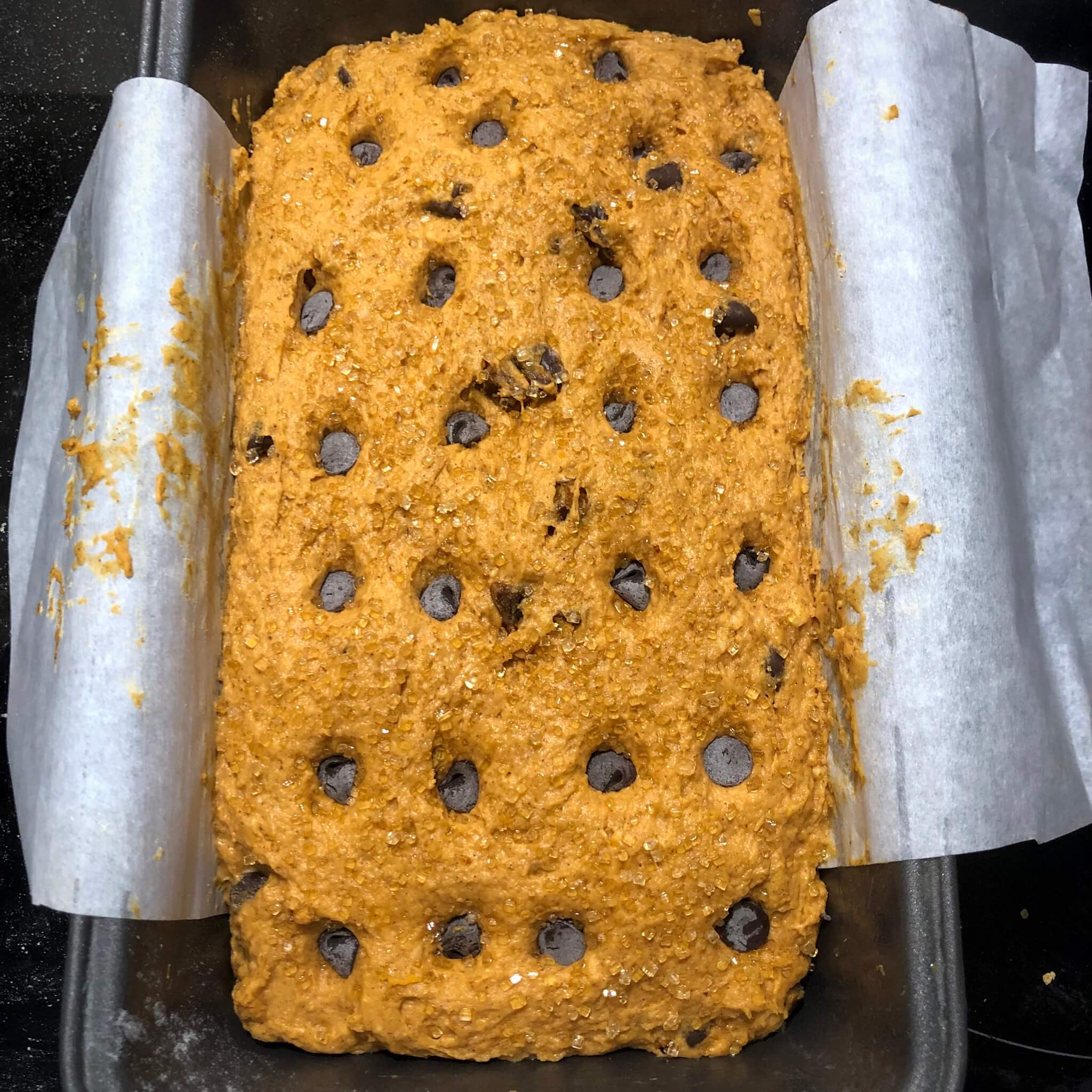 pumpkin bread recipe with chocolate chips on top