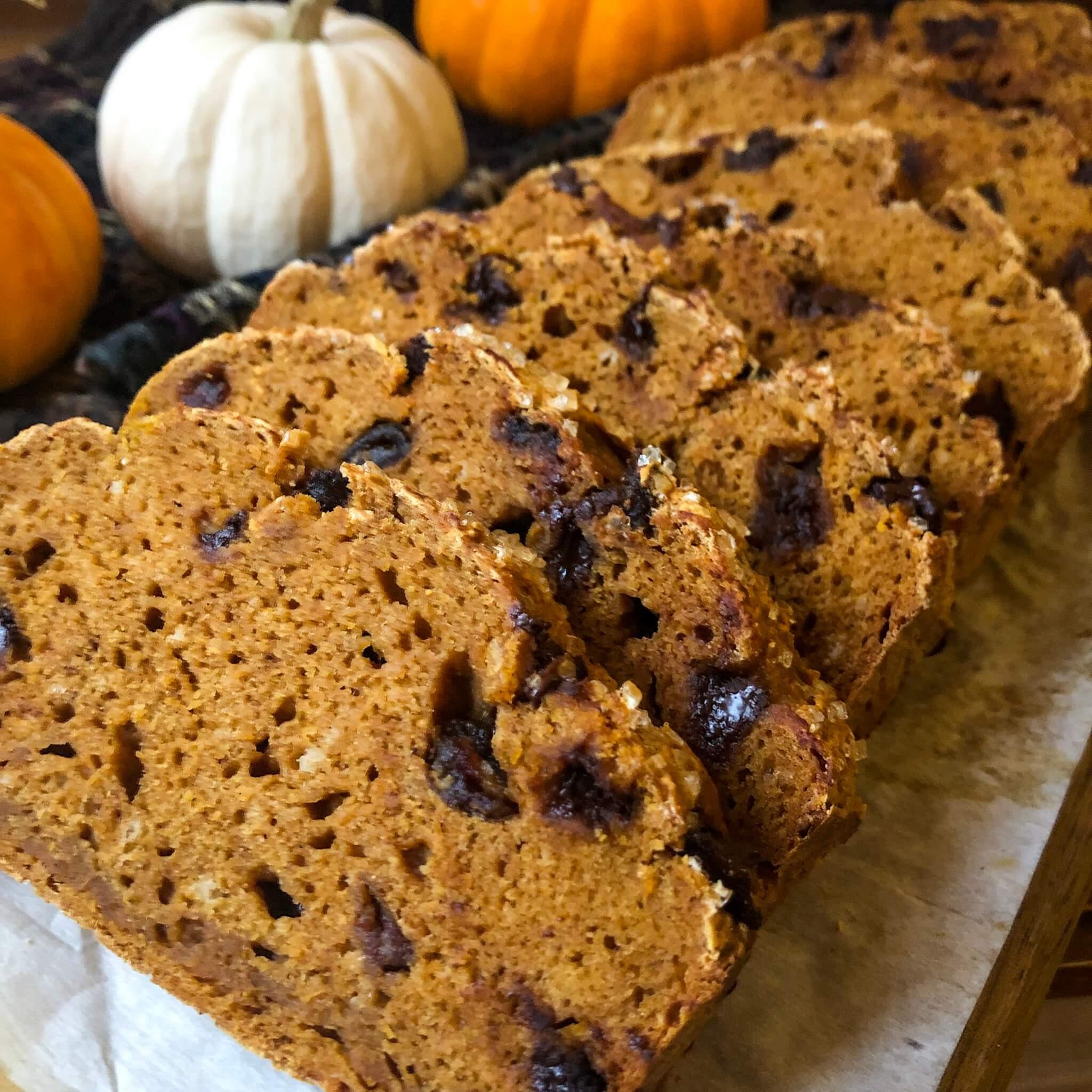 pumpkin bread slices up close