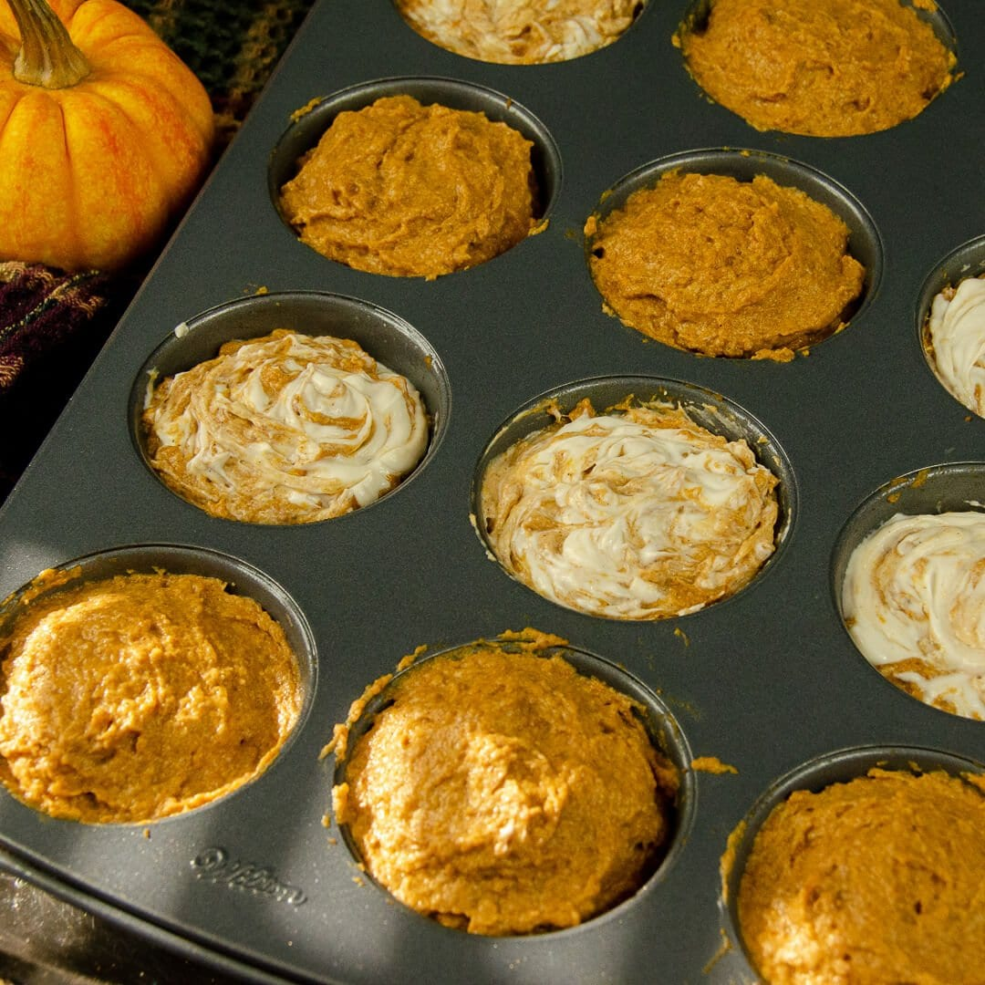 healthy vegan pumpkin muffins swirled raw
