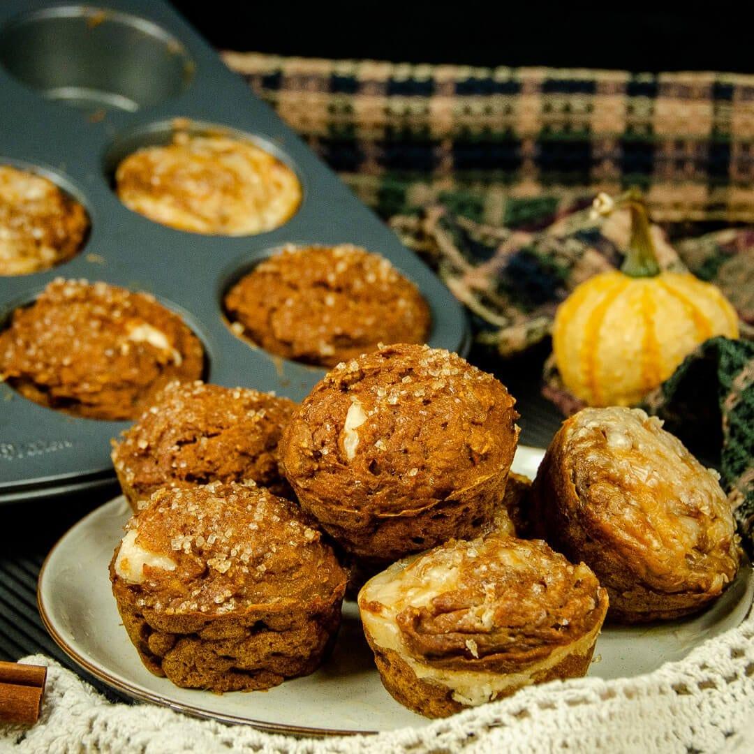 pumpkin cheesecake muffins recipe hero