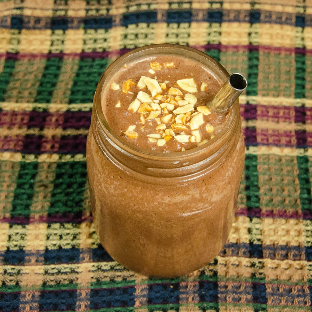 vegan chocolate smoothie recipe hero top down