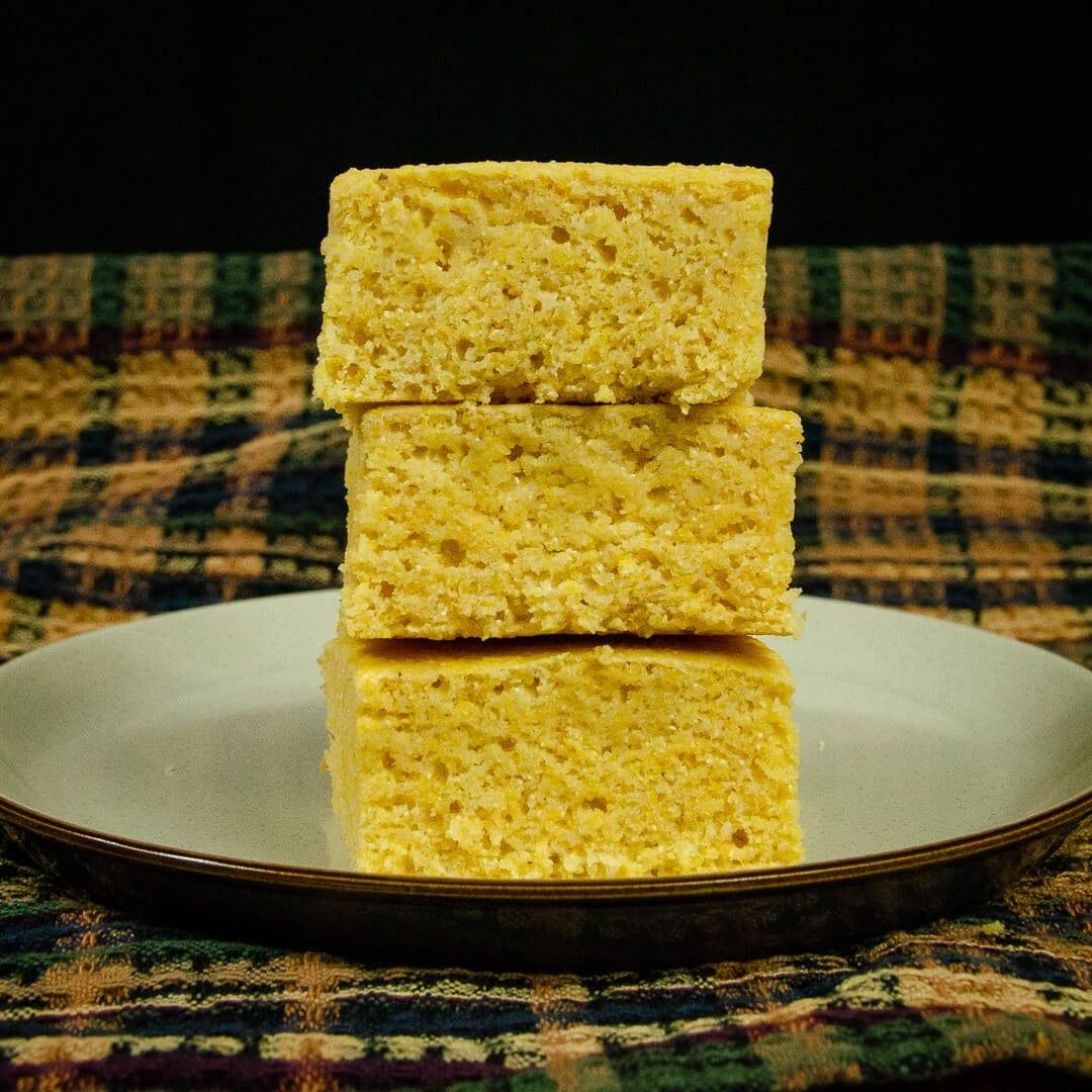 vegan cornbread recipe stack of 3