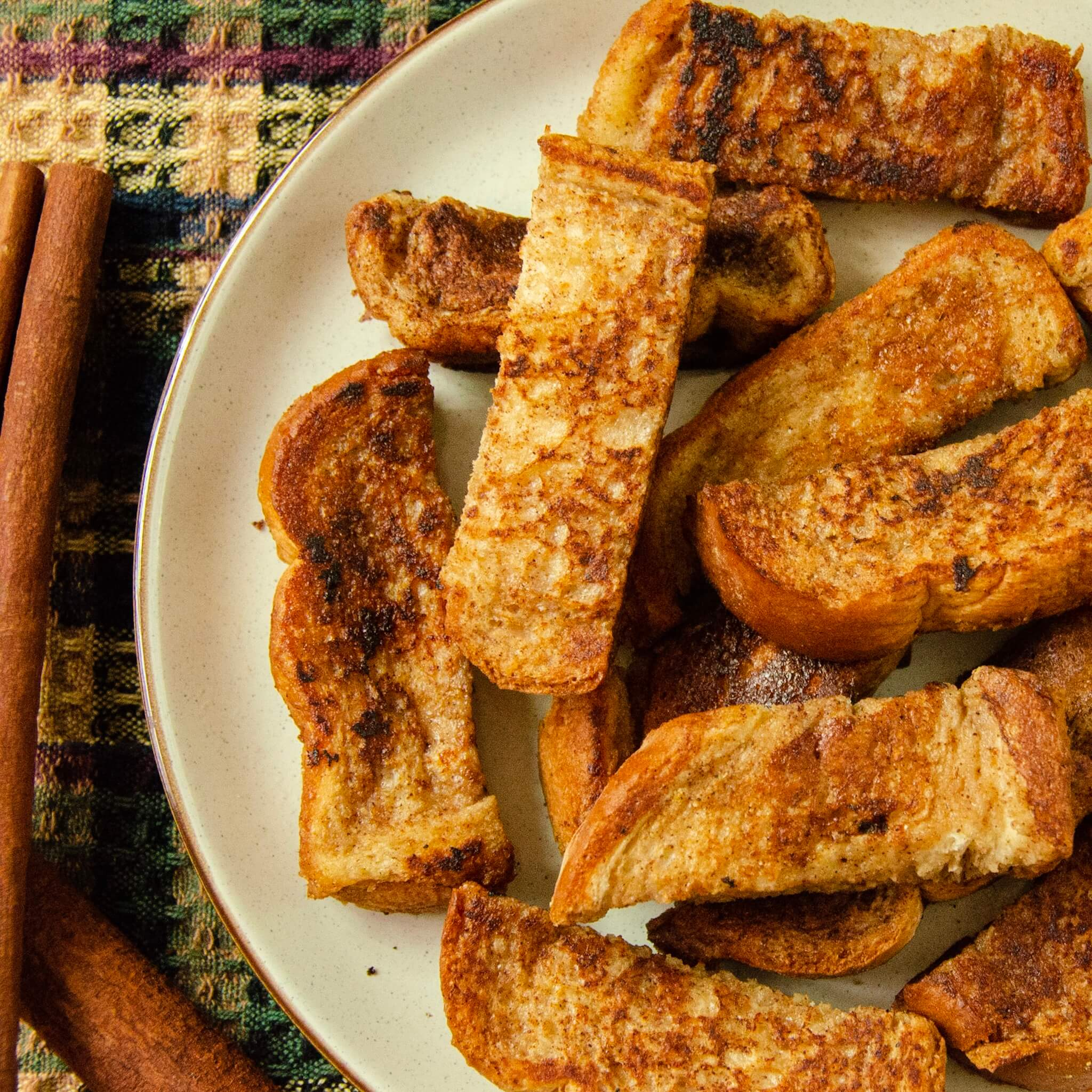 vegan french toast sticks with half cut off