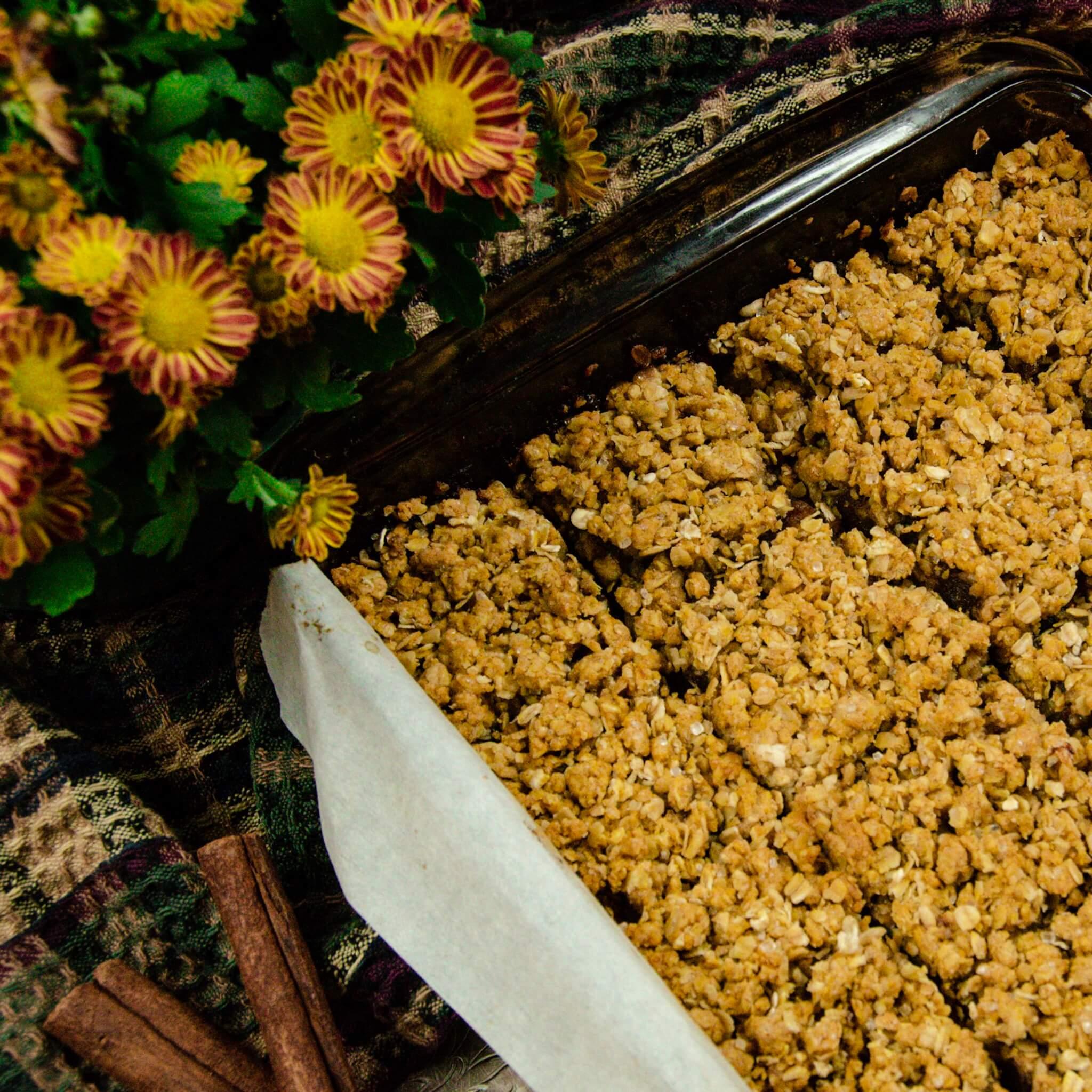 vegan pumpkin date squares recipe in pan cut
