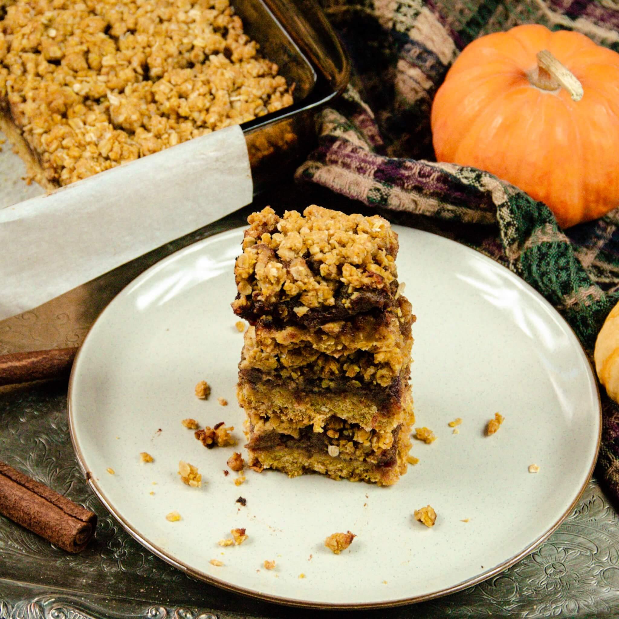 vegan pumpkin date squares top down stack