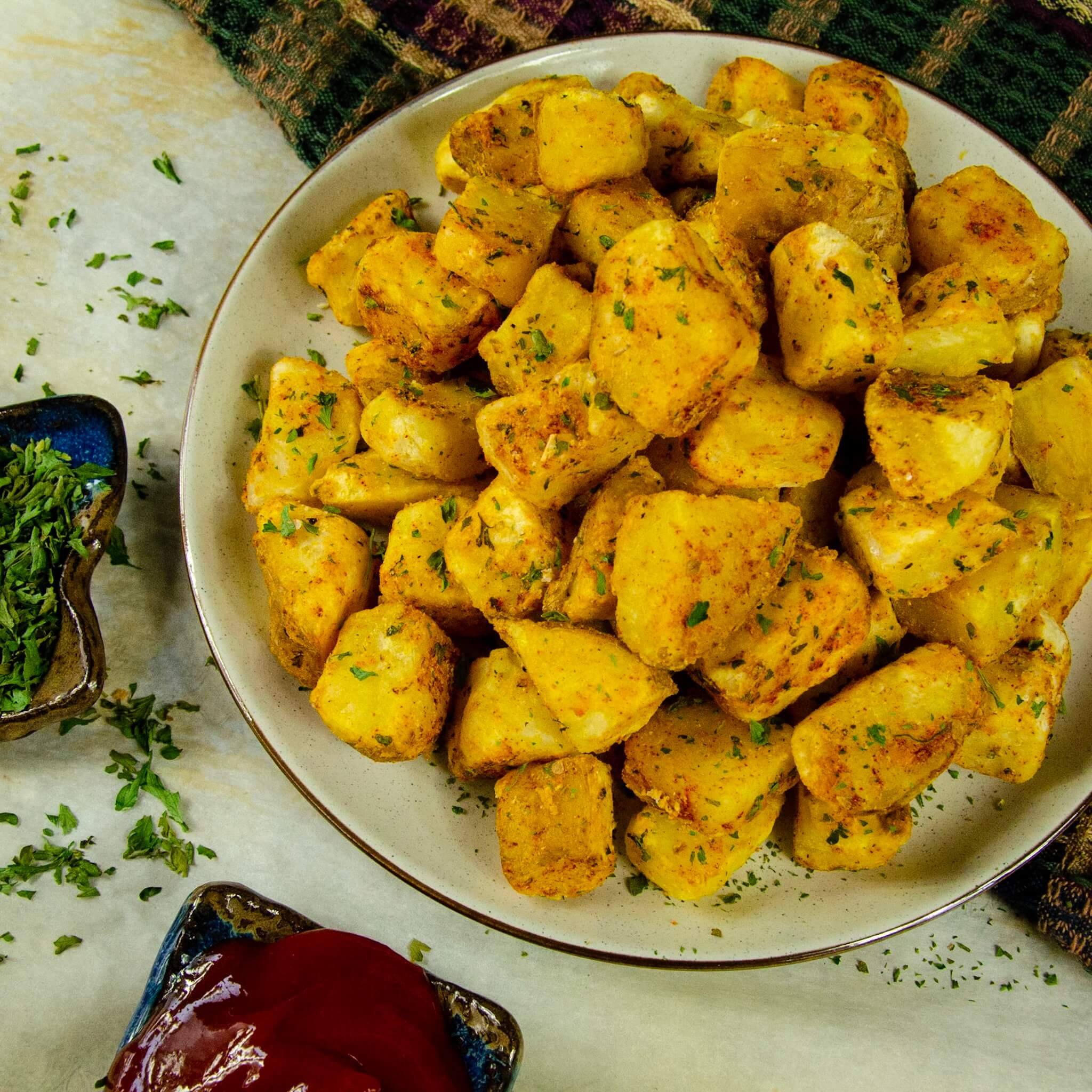 air fryer potatoes with garlic and herbs recipe