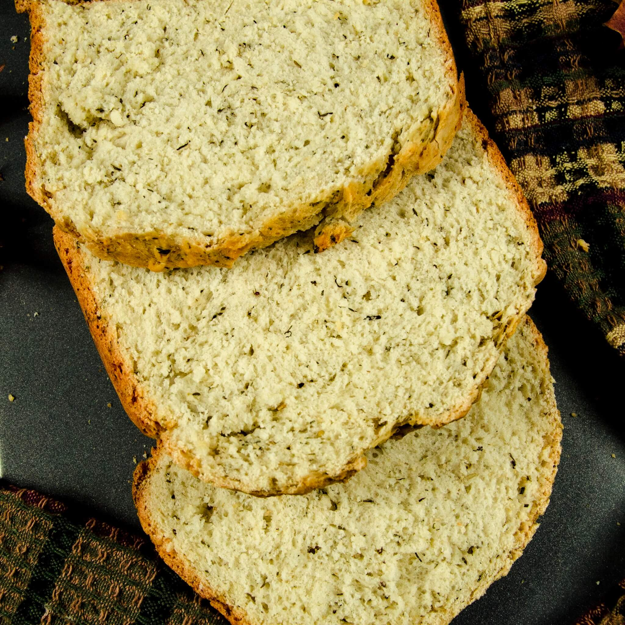 vegan stuffing bread recipe top down slices