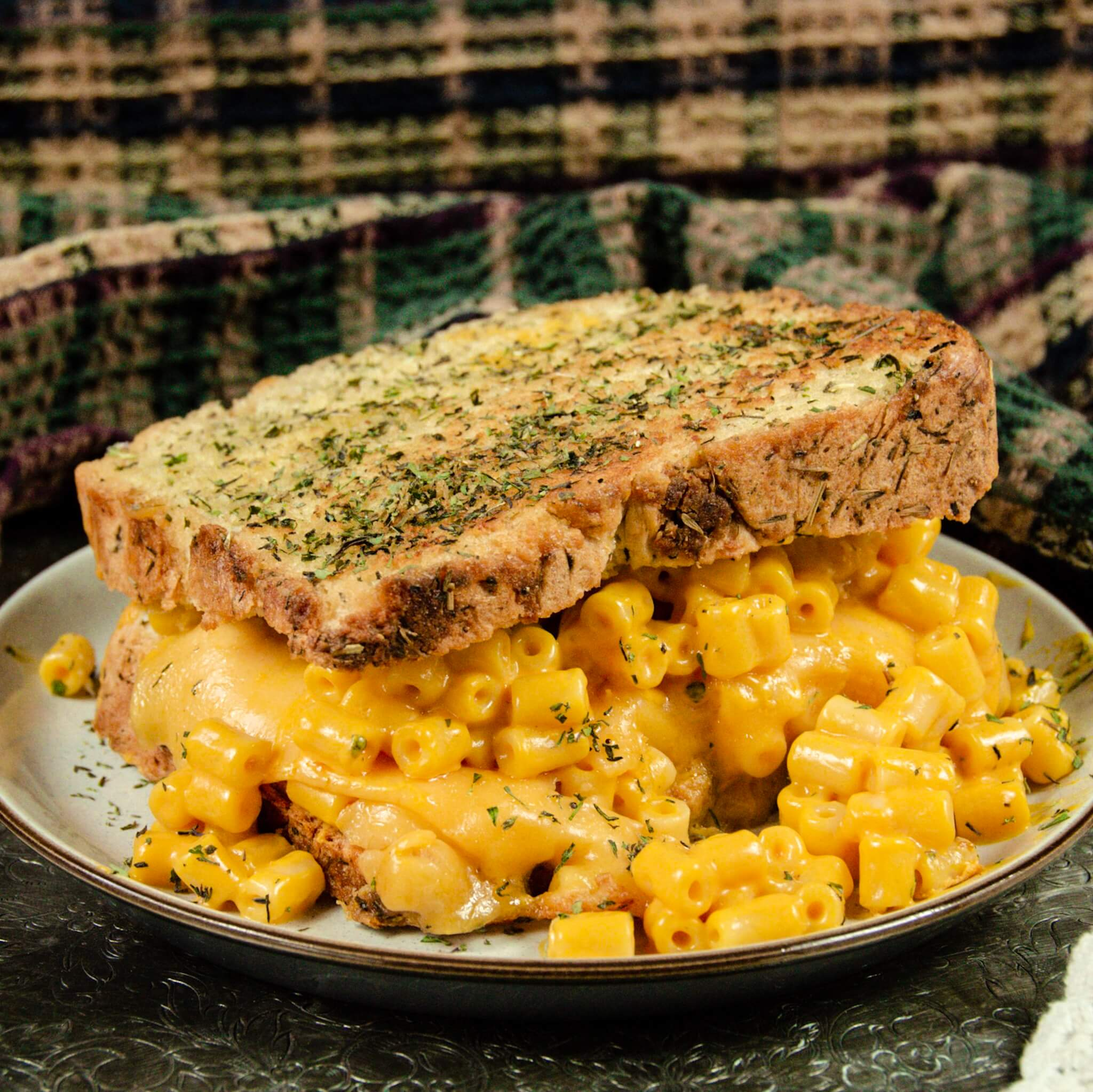 vegan mac and cheese grilled cheese camera hero top down