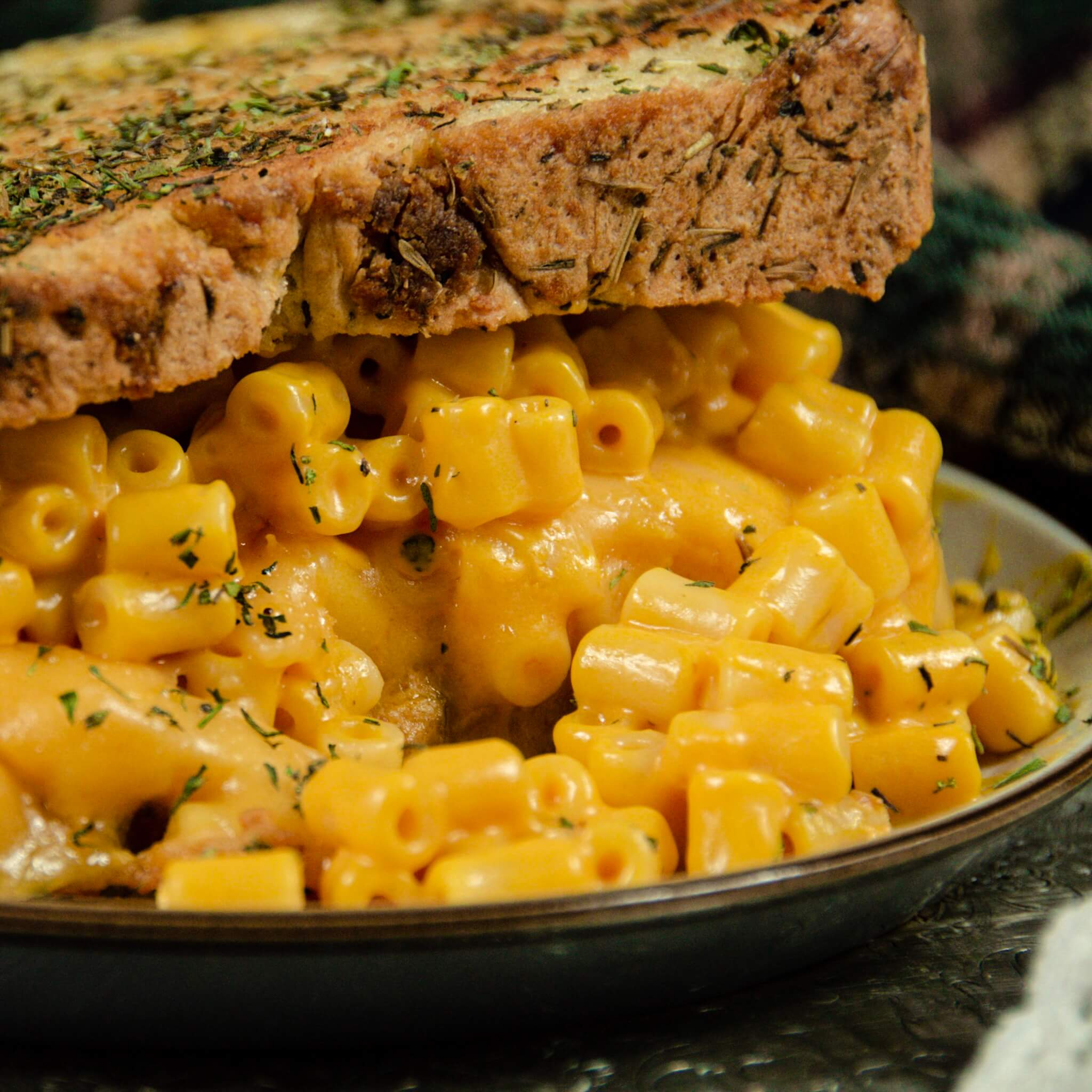 mac and cheese grilled cheese sandwich hero close up 2