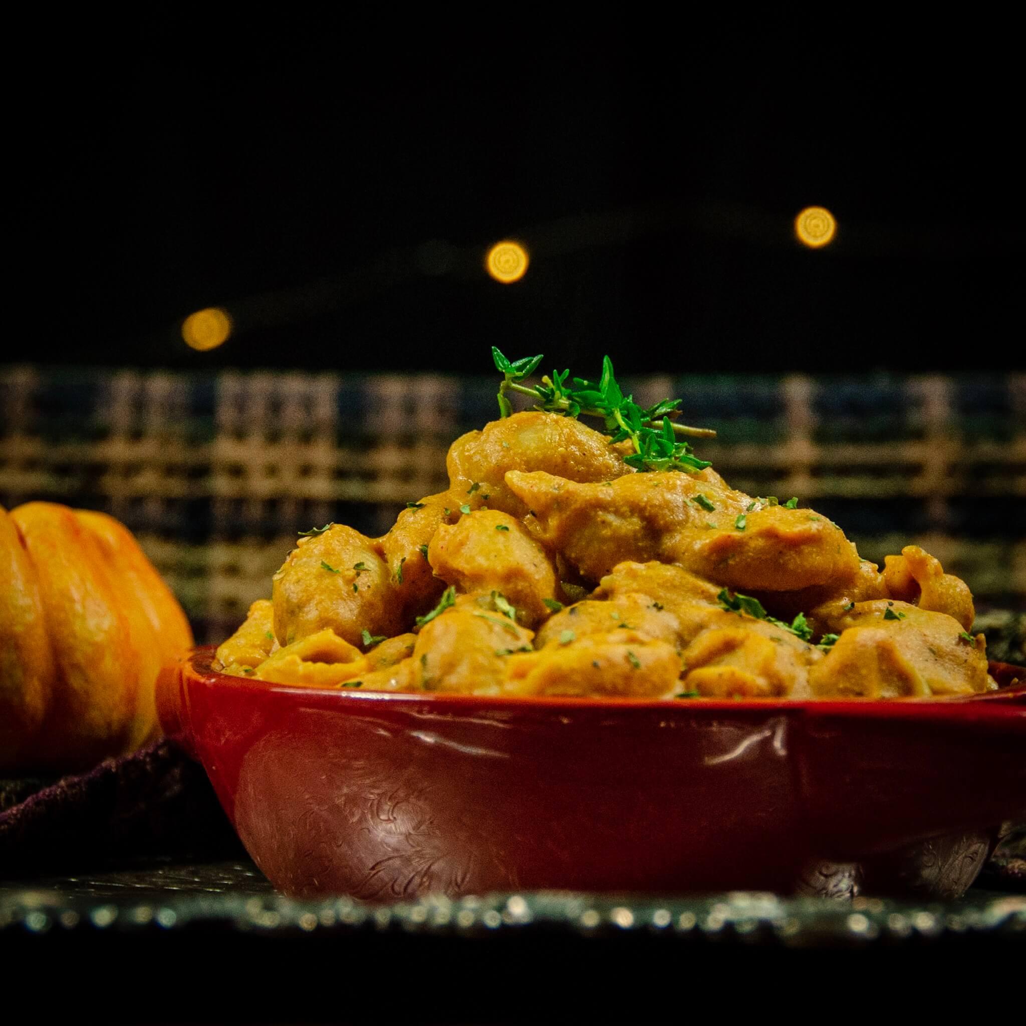 dark picture of vegan pasta with pumpkin