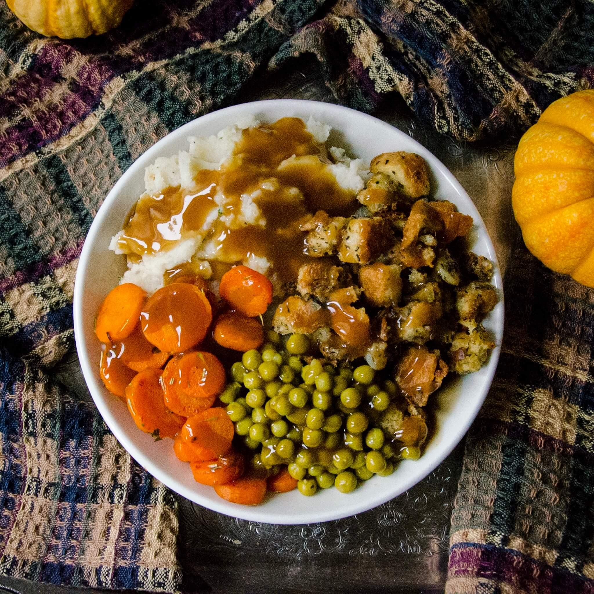 Vegan thanksgiving dinner bowl hero shot
