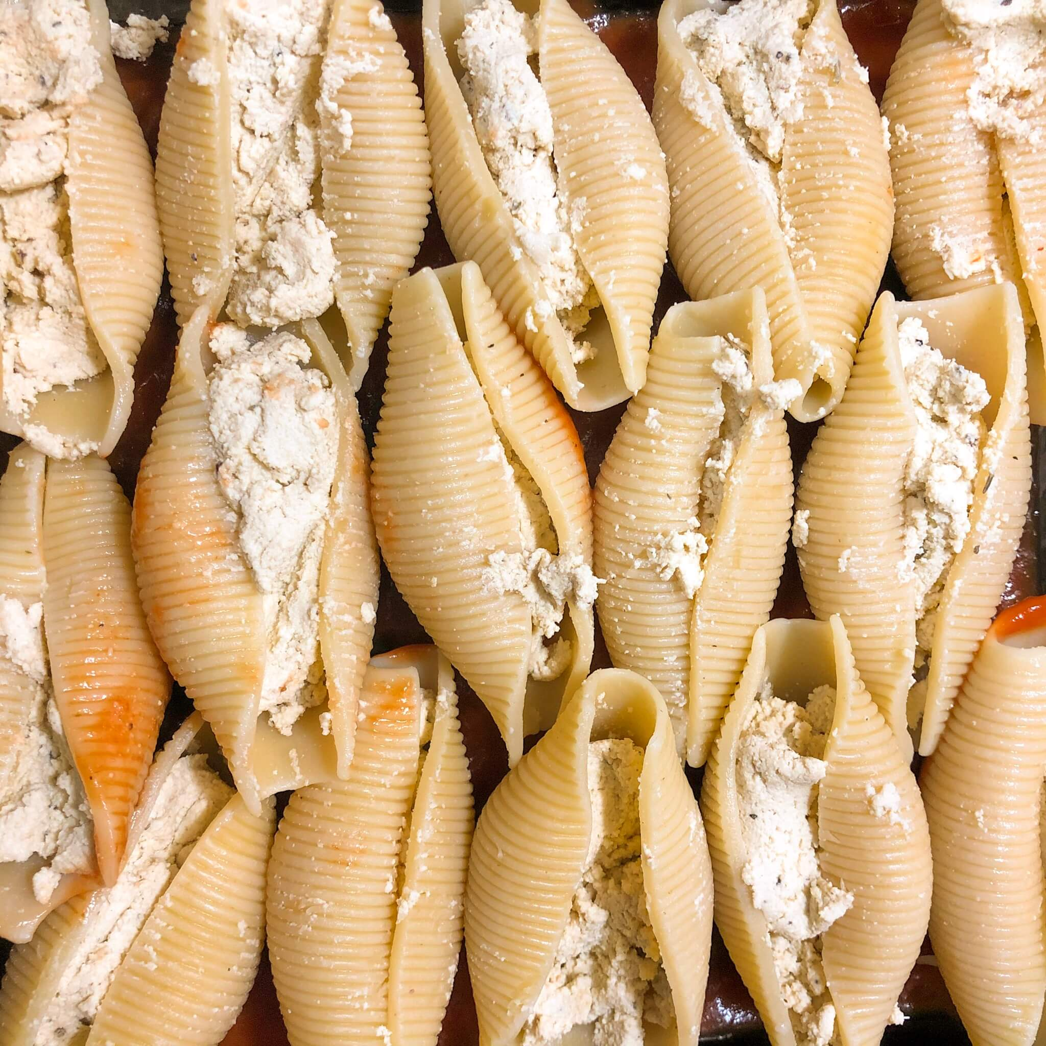 vegan ricotta stuffed shells in a pan no sauce