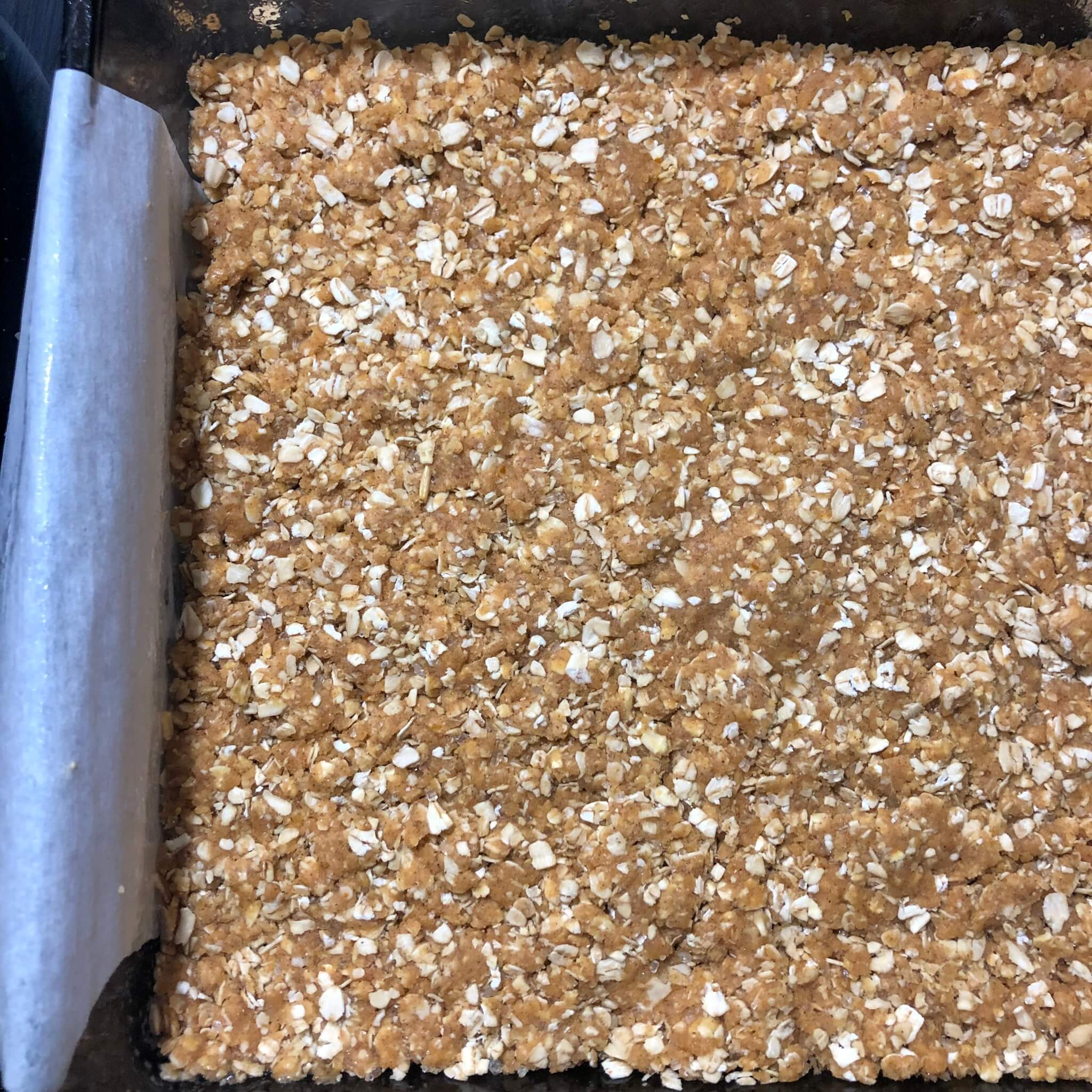 bottom oat crumble layer for vegan date squares recipe