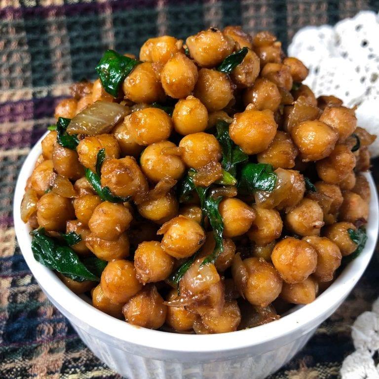 vegan peanut chickpeas in ramekin