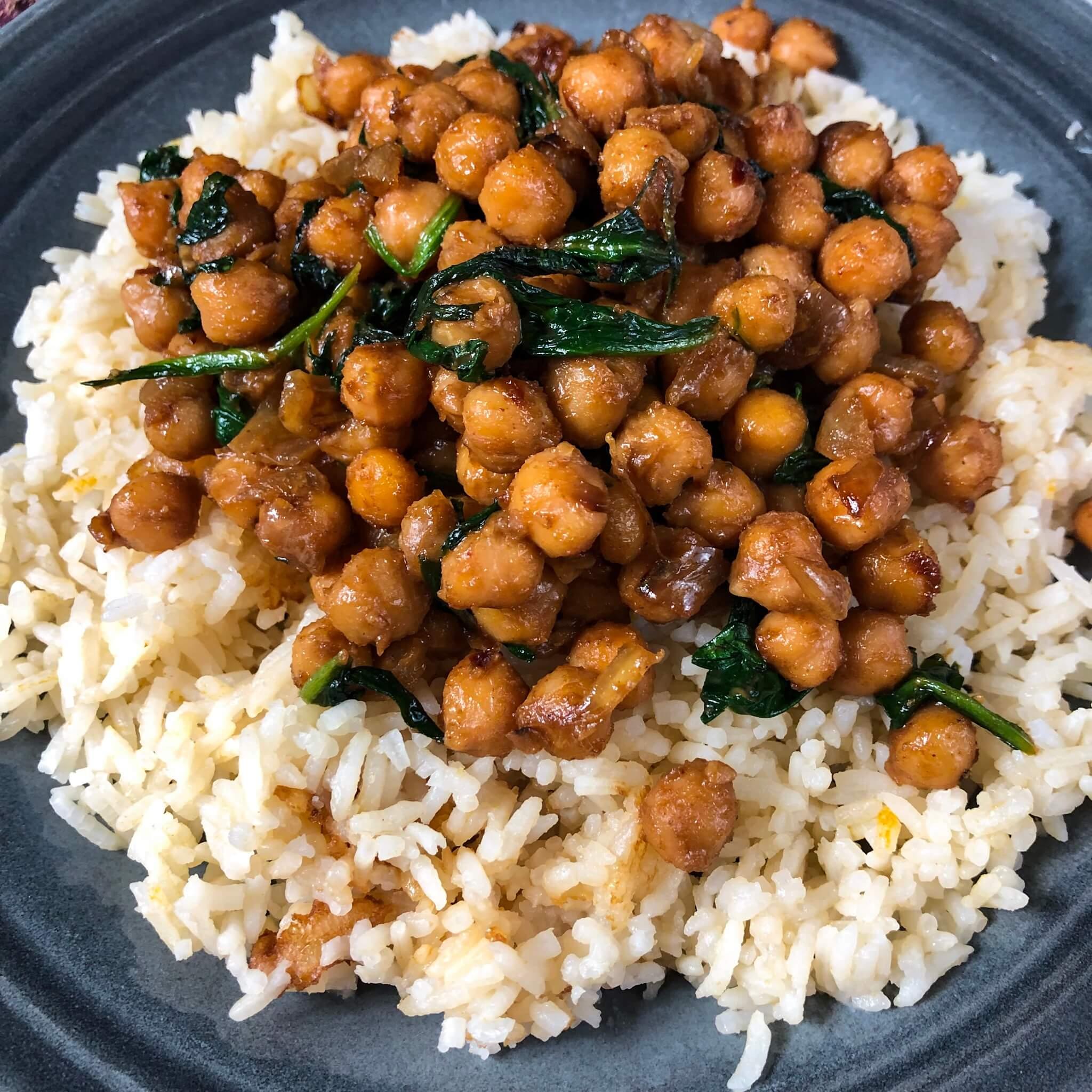 vegan peanut chickpeas on rice