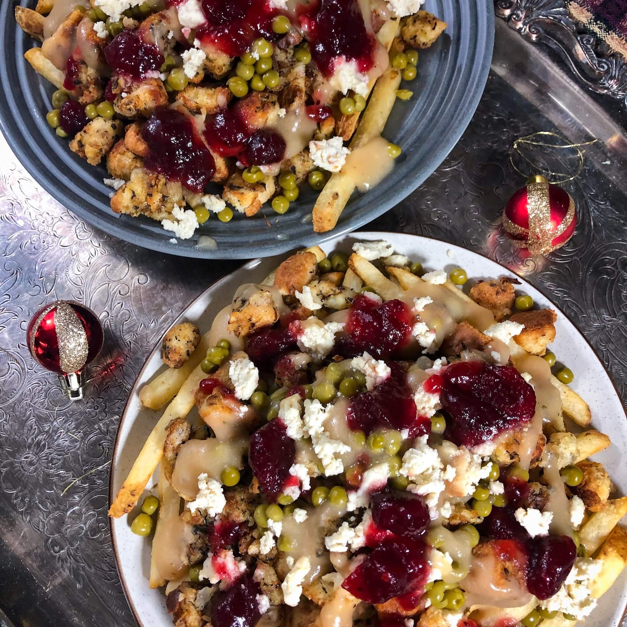 two christmas recipe poutine top down