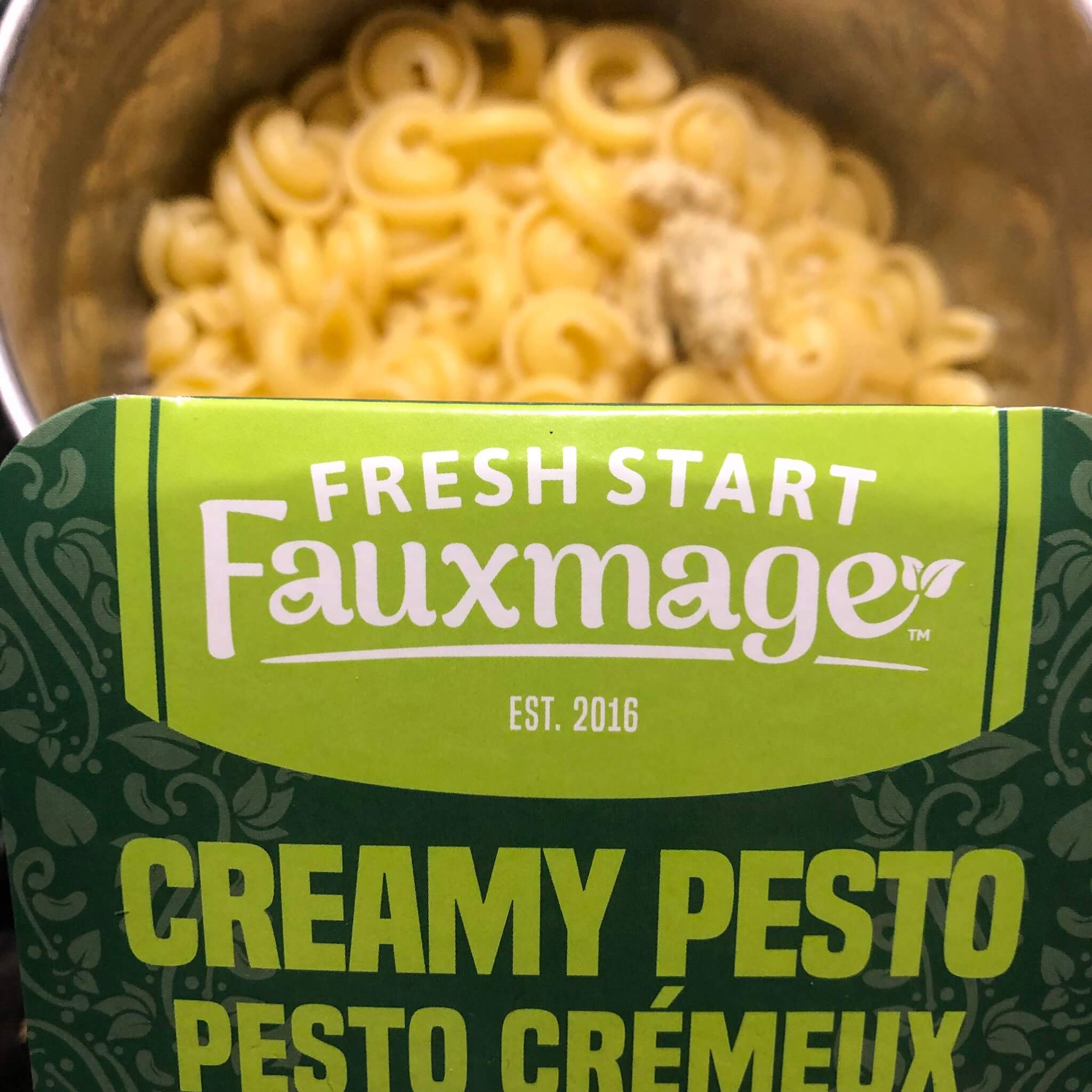 fresh start fauxmage pesto cream cheese with pasta