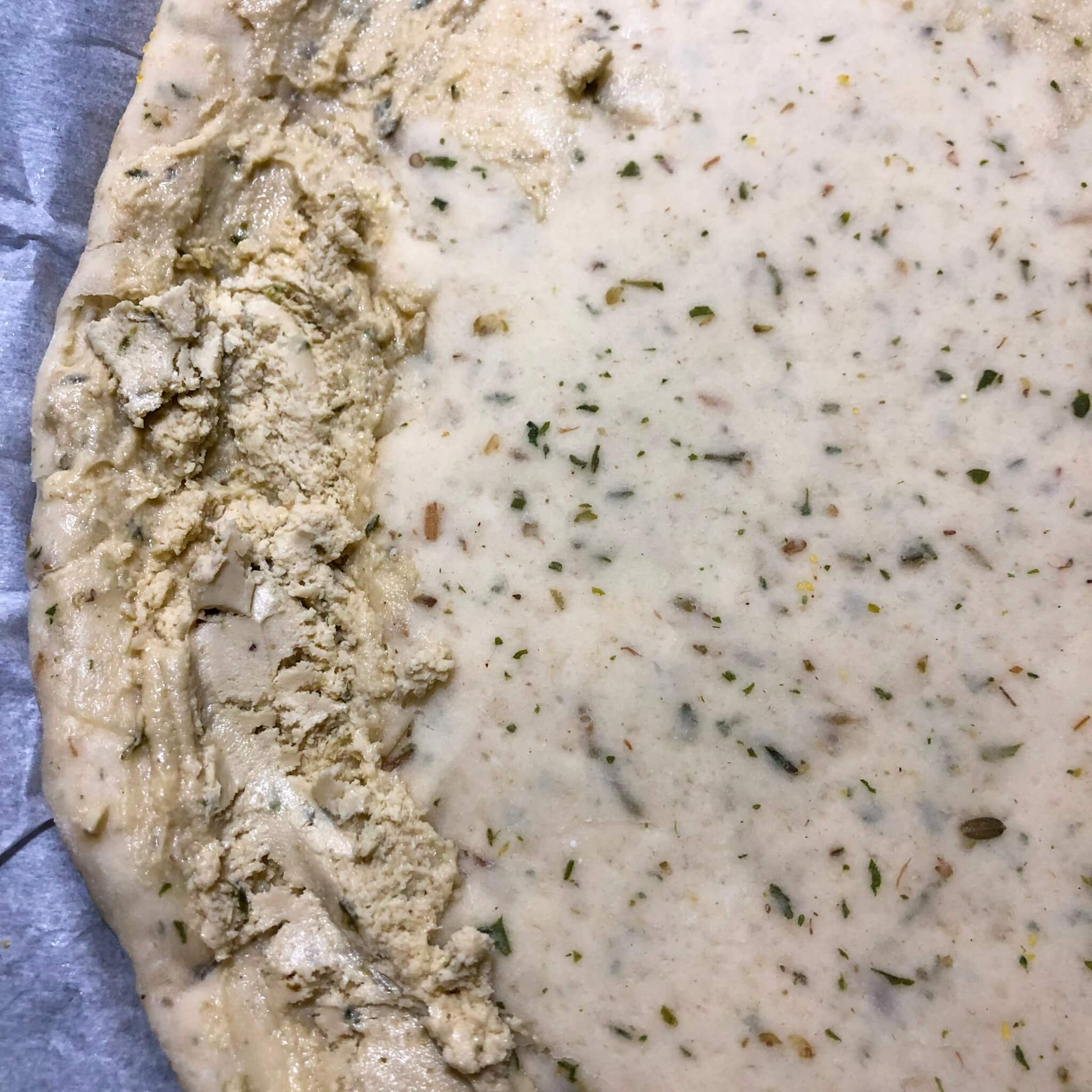 fauxmage on the pizza dough