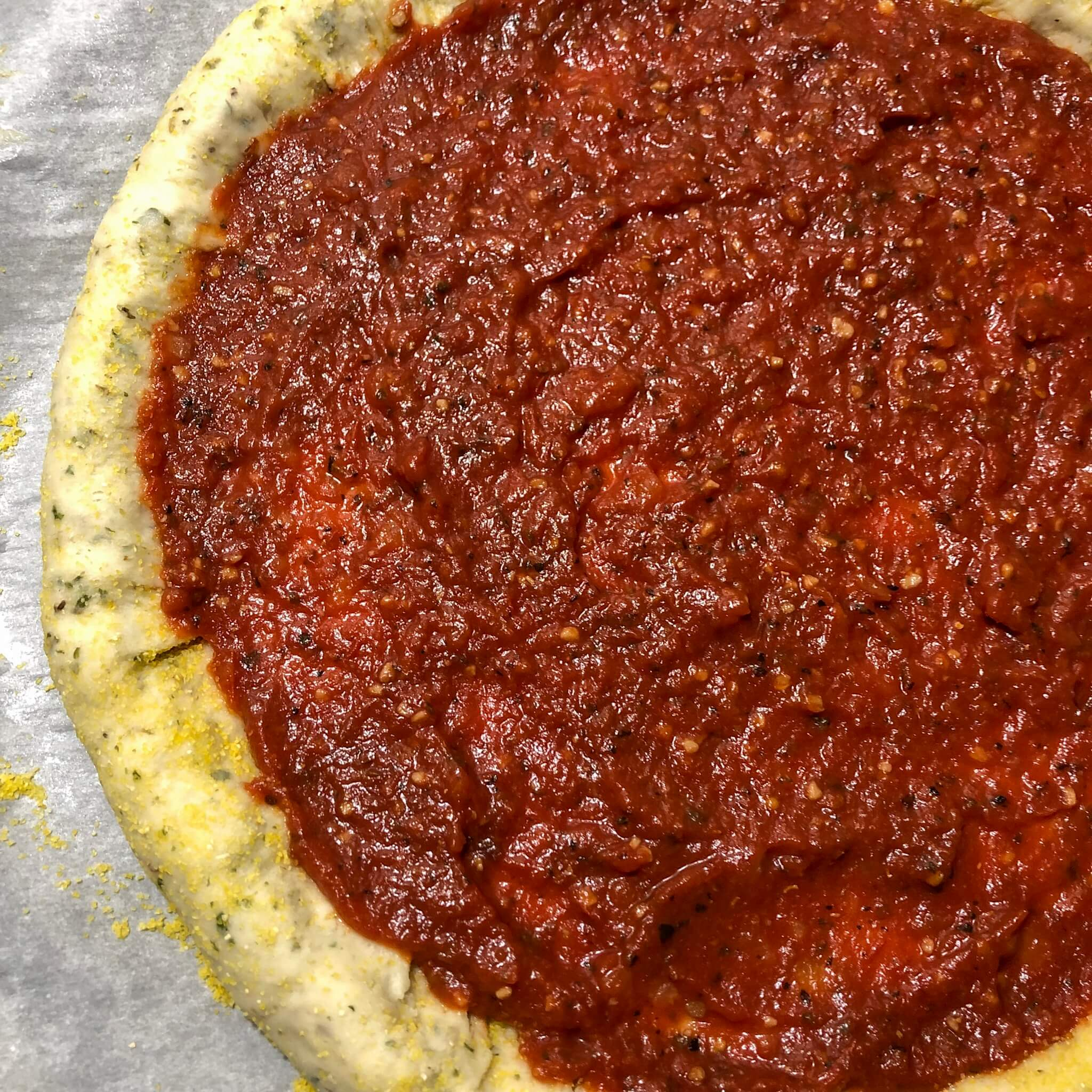 vegan pizza recipe with sauce and stuffed crust