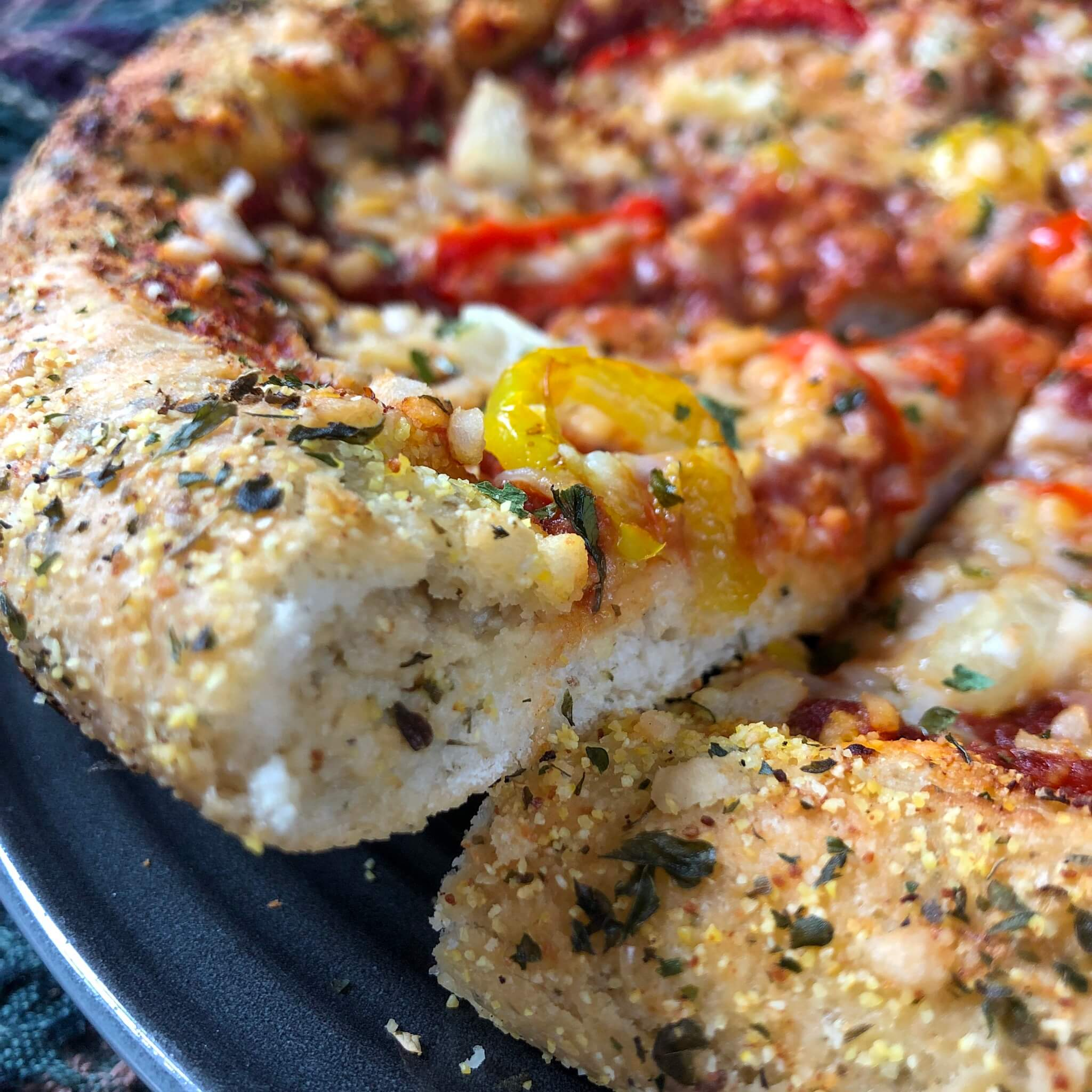 vegan stuffed crust pizza with fauxmage