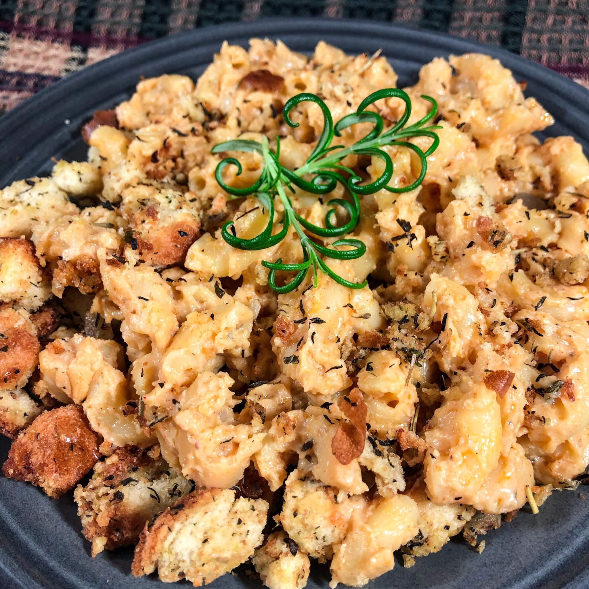 stuffing mac and cheese mixed
