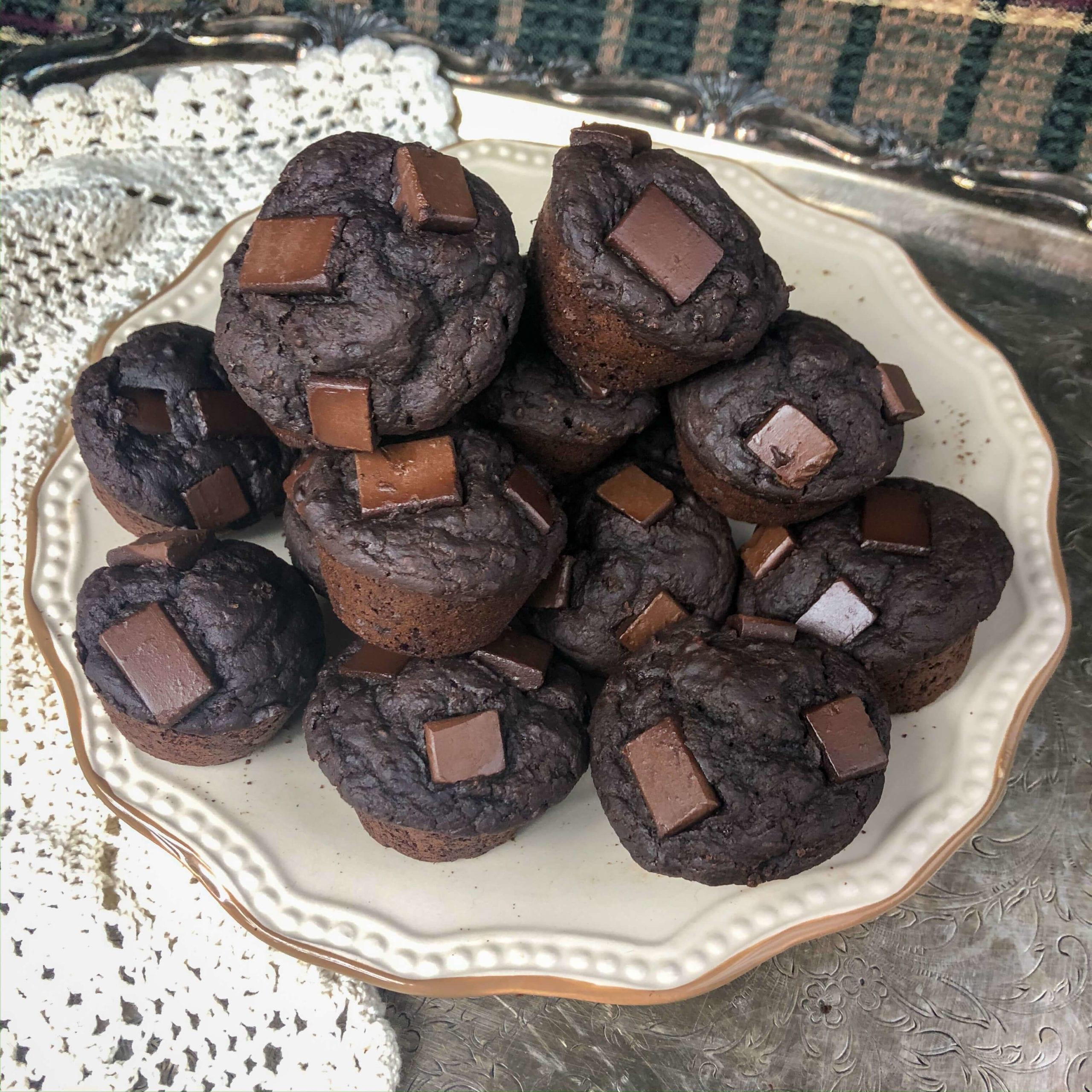 vegan chickpea brownies hero shot far