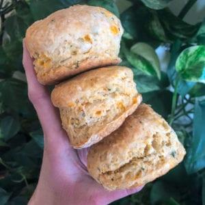 vegan cheese biscuits three stack