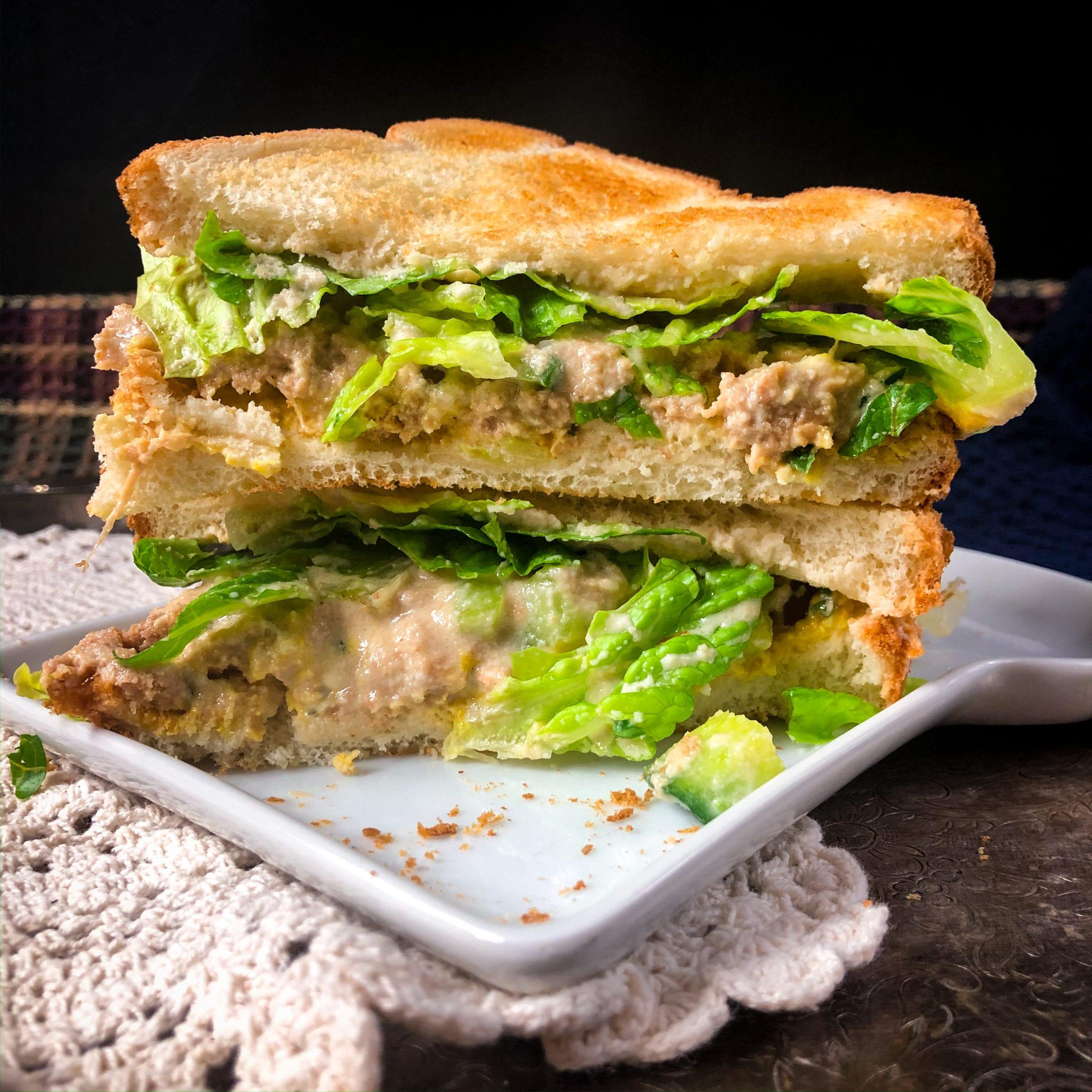 vegan tuna salad sandwich stacked