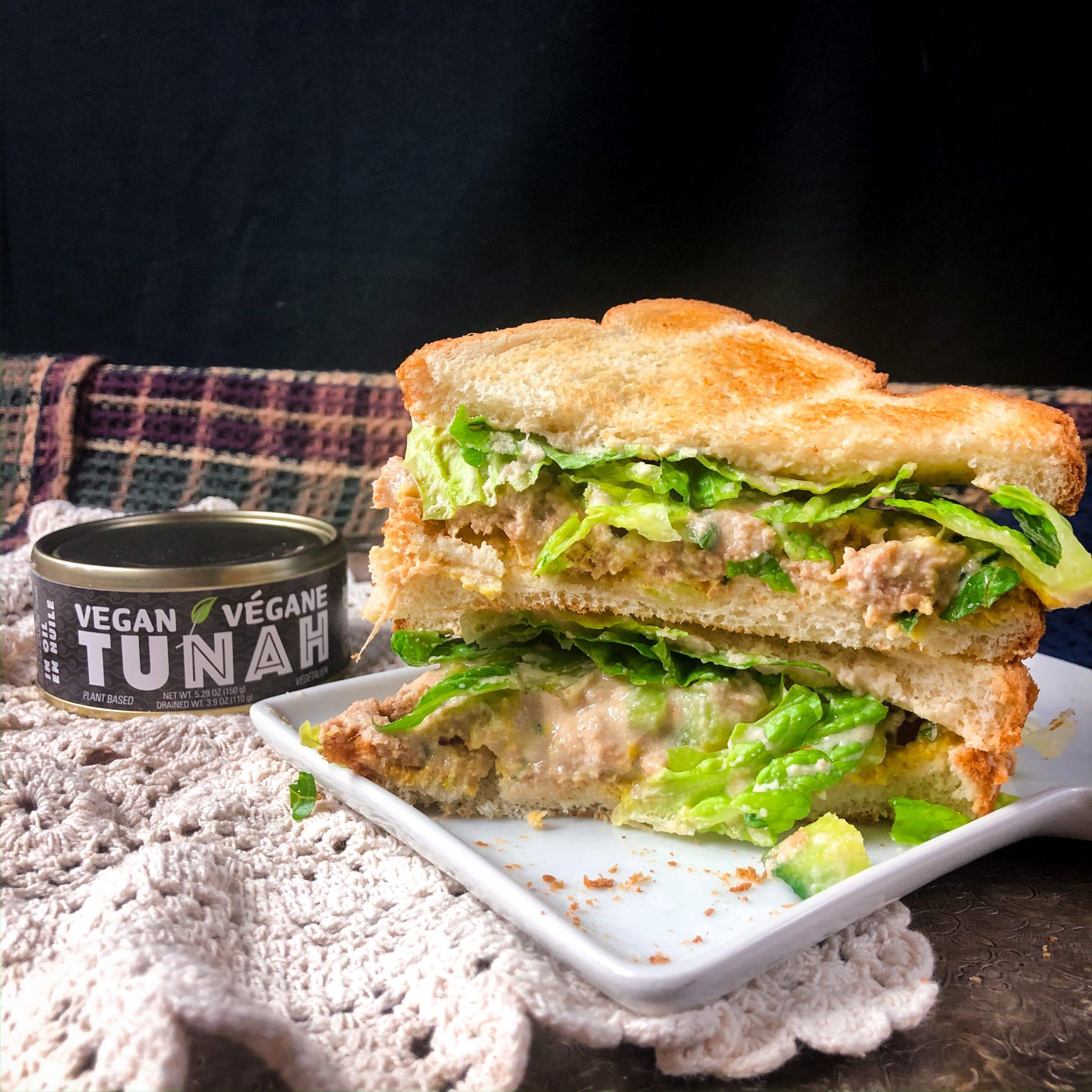 tuna salad sandwich made with vegan tuna