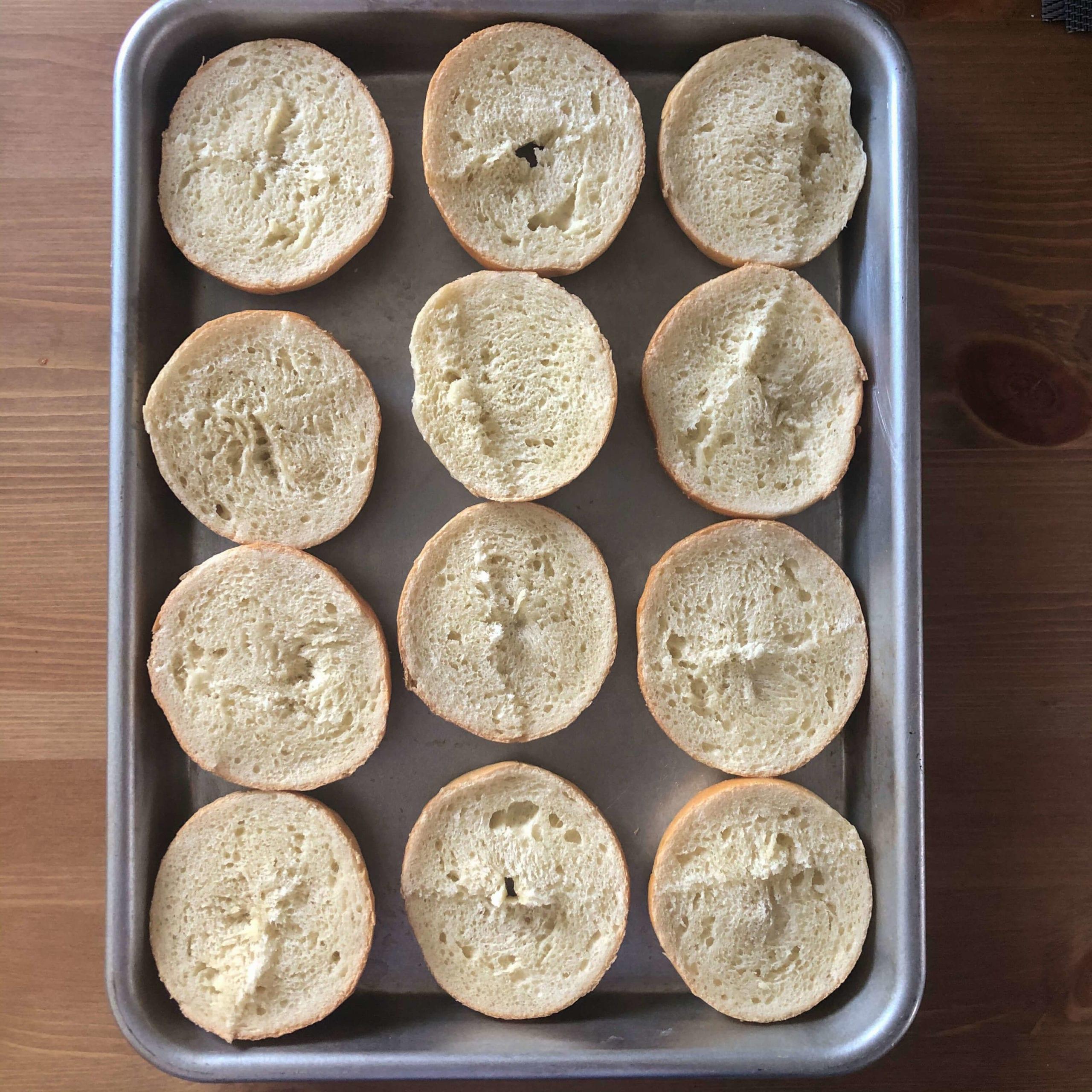 mini bagels open
