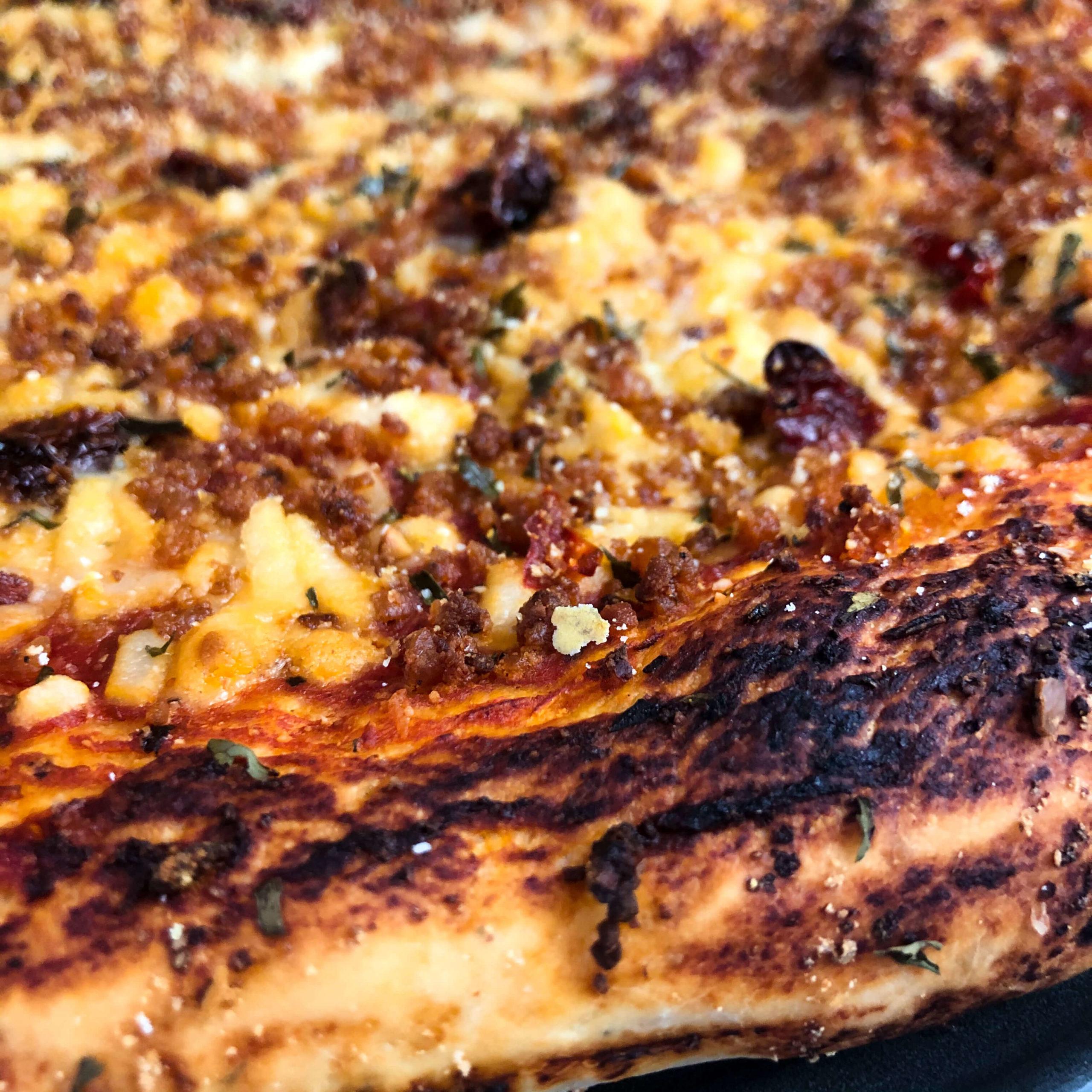 vegan pizza crust close up