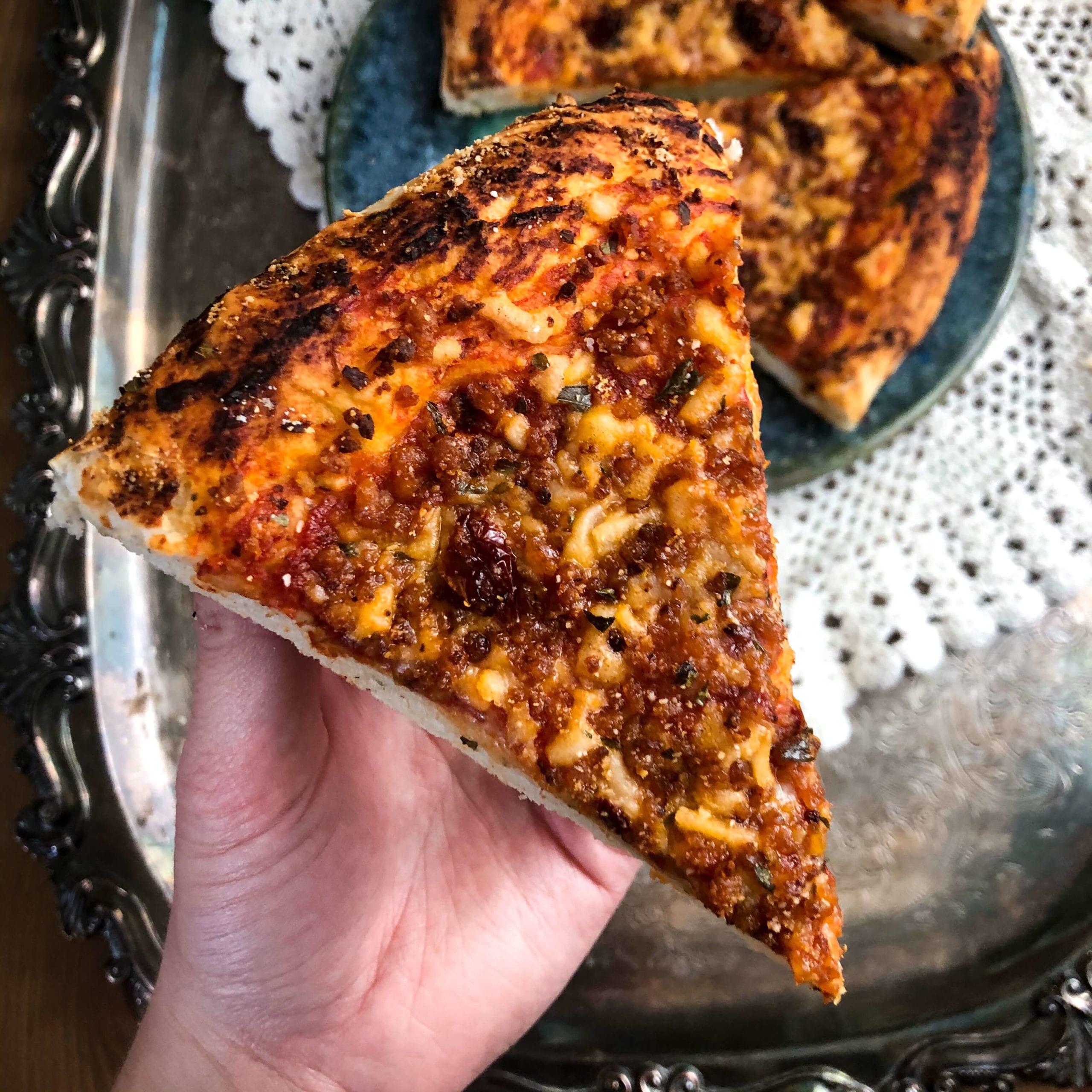 vegan cheese pizza slice